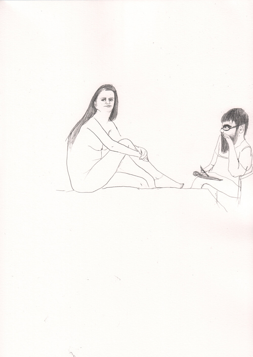 Man Drawing a Woman