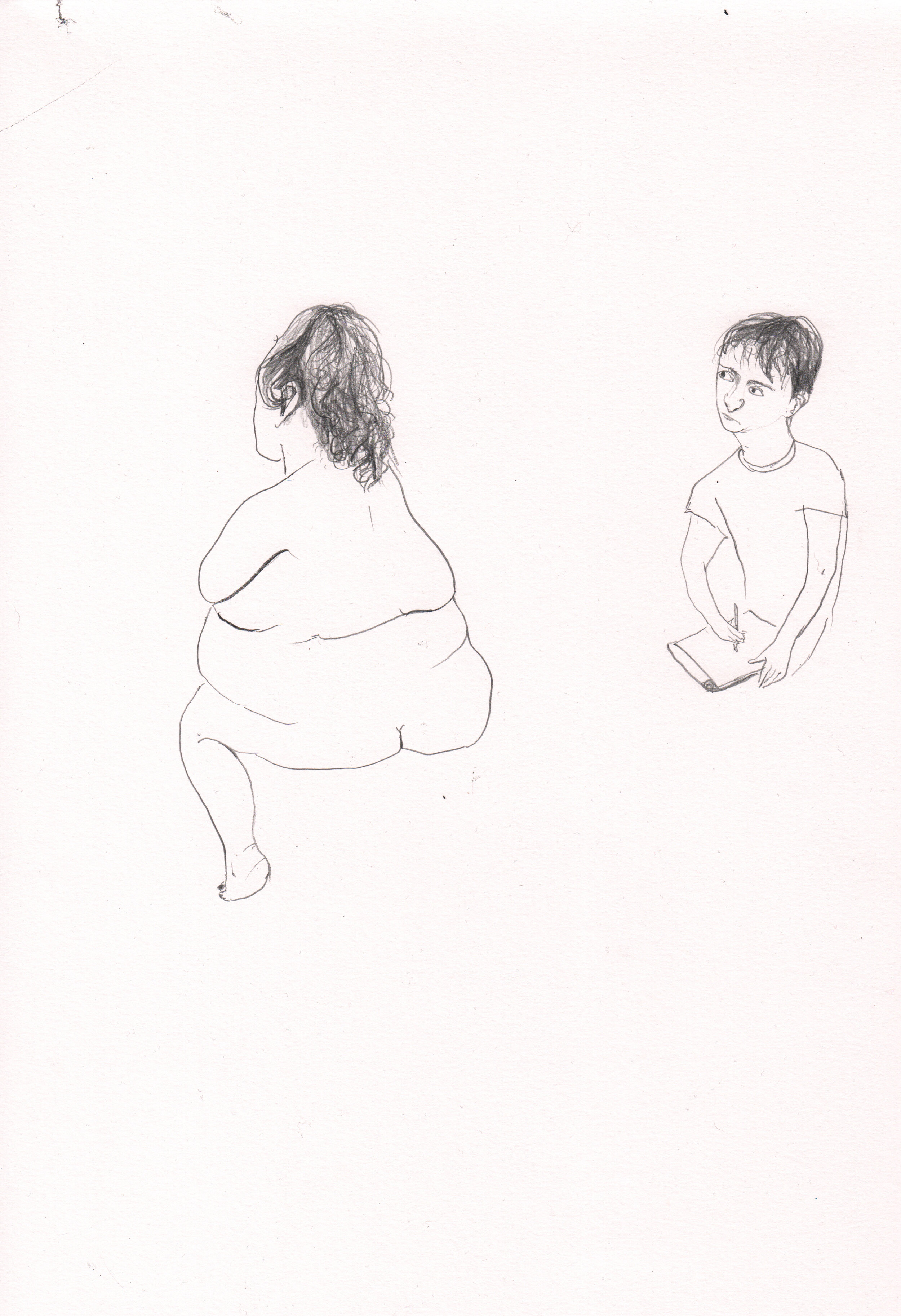 Young Man Drawing a Woman