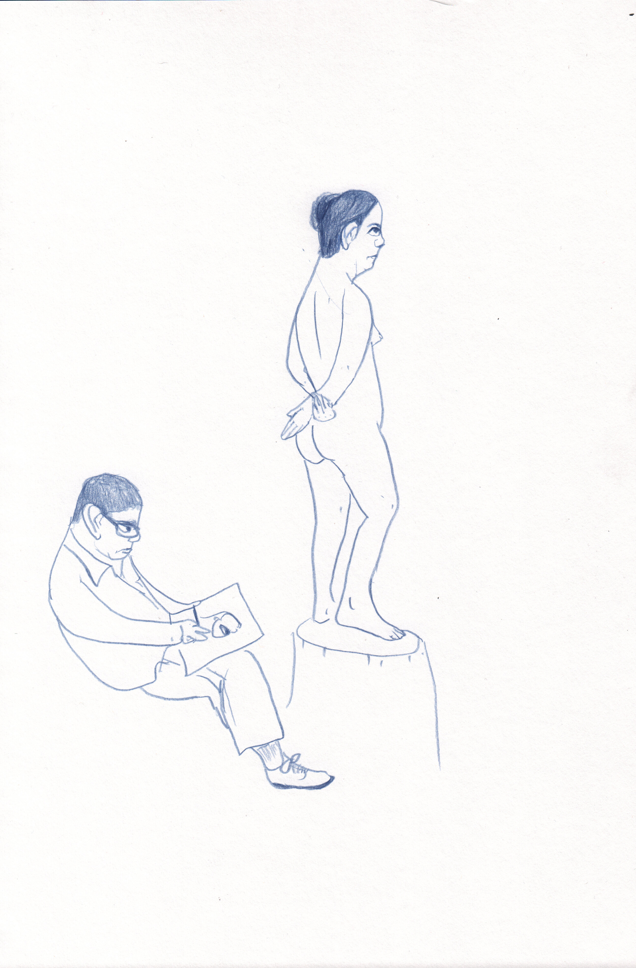 Man Drawing a Nude Woman