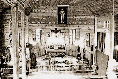 The original image of Divine Mercy hanging in a small church in Nowa Ruda, Belarus sometime between 1970 and 1986. No inscription is on the canvas.
