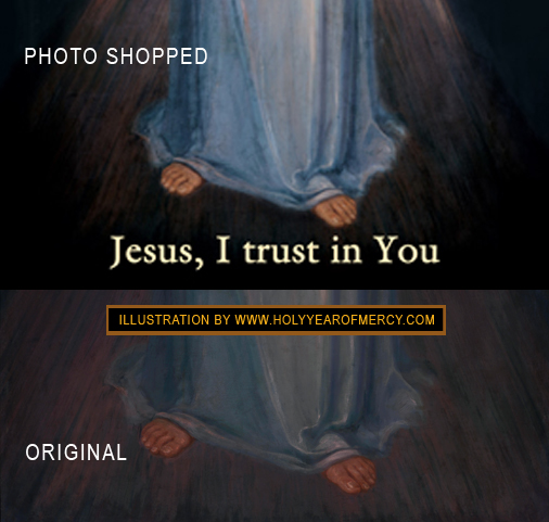 Some attempts to include the inscription below the feet of the merciful Jesus also include some drastic manipulations of the brightness and contract of the image all of which change the natural beauty of the original masterpiece by Eugeniusz Kazimirowski.