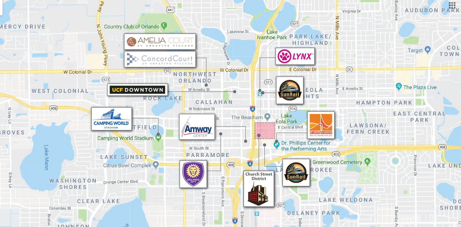 Amelia Court Commercial - Walking distance to Orlando's Business DistrictWithin 1 mile of Orlando's top entertainment venues: Amway Center, Dr. Phillips, Orlando City SoccerSpace currently available: 3044 sq. ft.