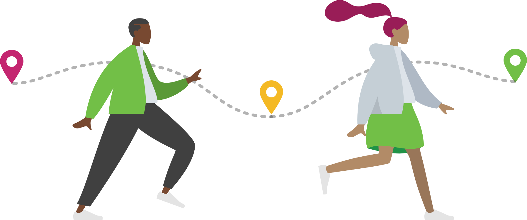 Students on a path illustration