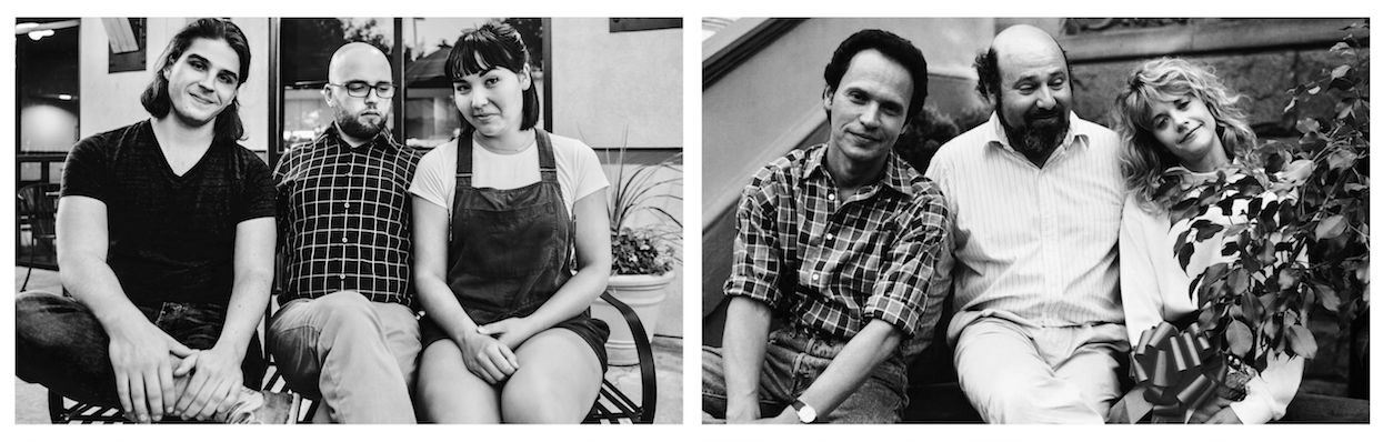 Left: Joseph, Michael & Lily on set for LIKE LOVE (2018) | Right: Billy Crystal, Rob Reiner and Meg Ryan on set for WHEN HARRY MET SALLY (1989)