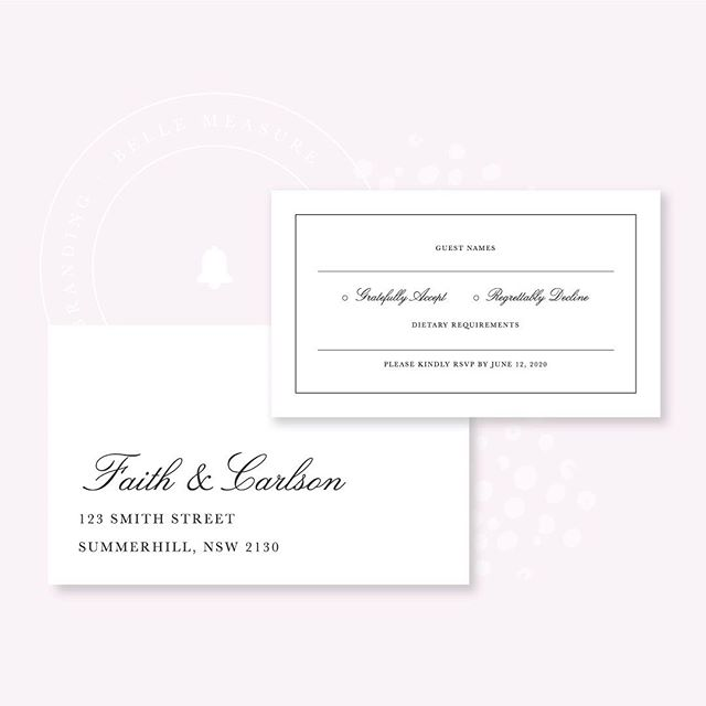 RSVP Cards ♥️ ⠀ ⠀ Including an RSVP card with your invitation isn't just to make it super easy for your guests to let you know they're coming, it's also so you can get all responses in the same way (rather than in texts, emails, on social, verbal) and so you can double check spelling of your guests names (particularly if they are bringing a plus one). It's also just a nice luxe experience for your near and dear! ⠀ ⠀ Don't forget to stamp! 💌