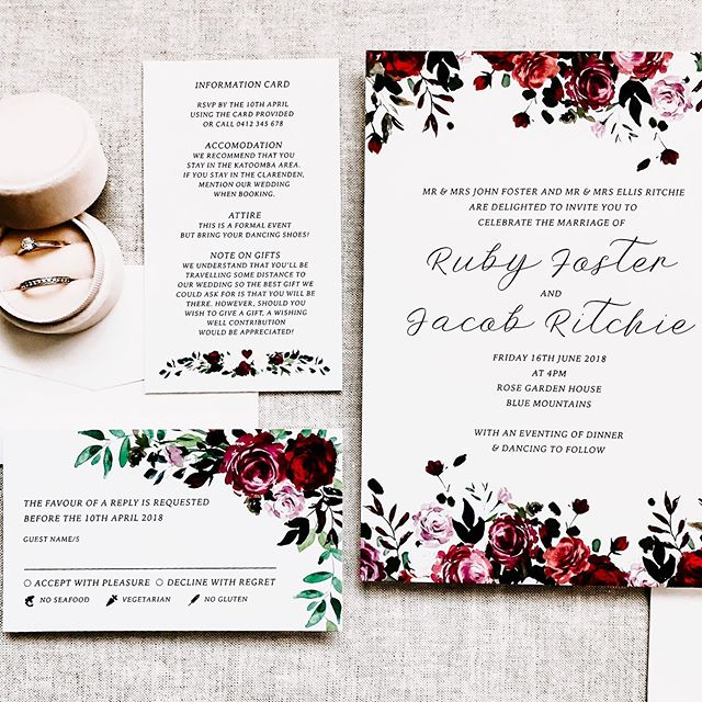 Throw back to Ruby and Jacob's invitation suite last year! Loved the rich red floral of this one and I adored the cute little menu option icons on the rsvp card ♥️
