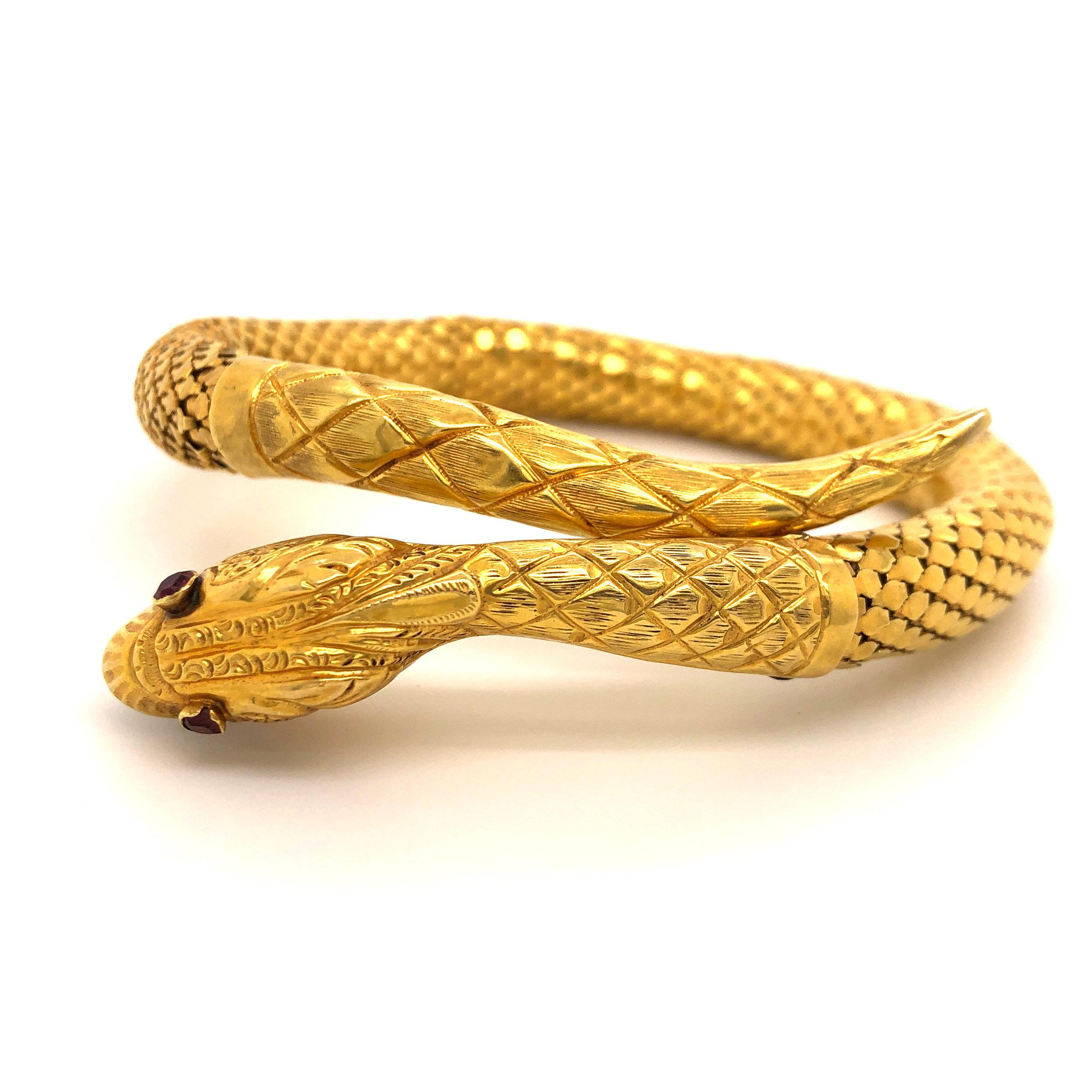 French Antique Snake Bracelet, 18kt Gold  Est. US$ 3,000-4,000