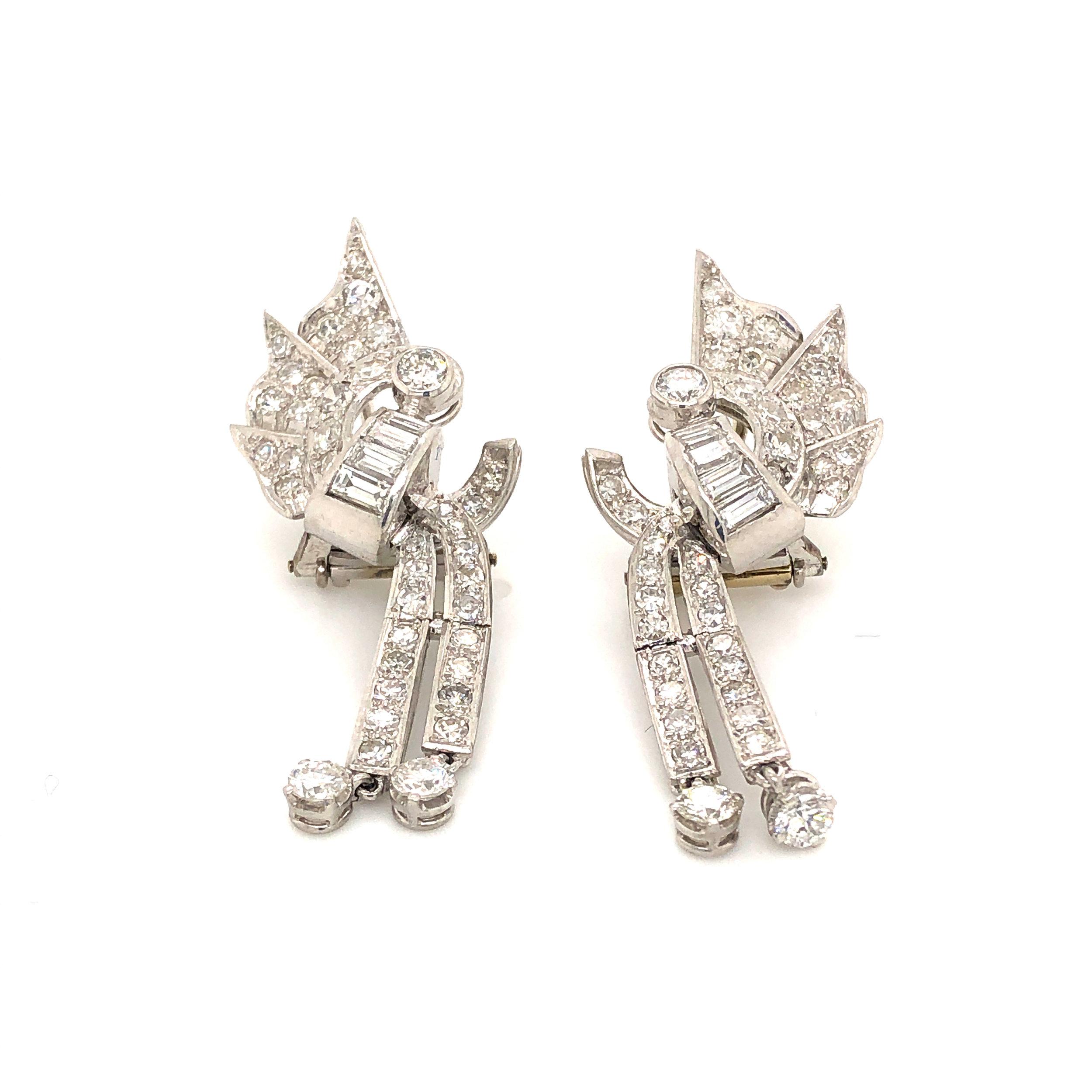 Mid-Century Diamond Earclips  Est. US$ 4,500-5,500
