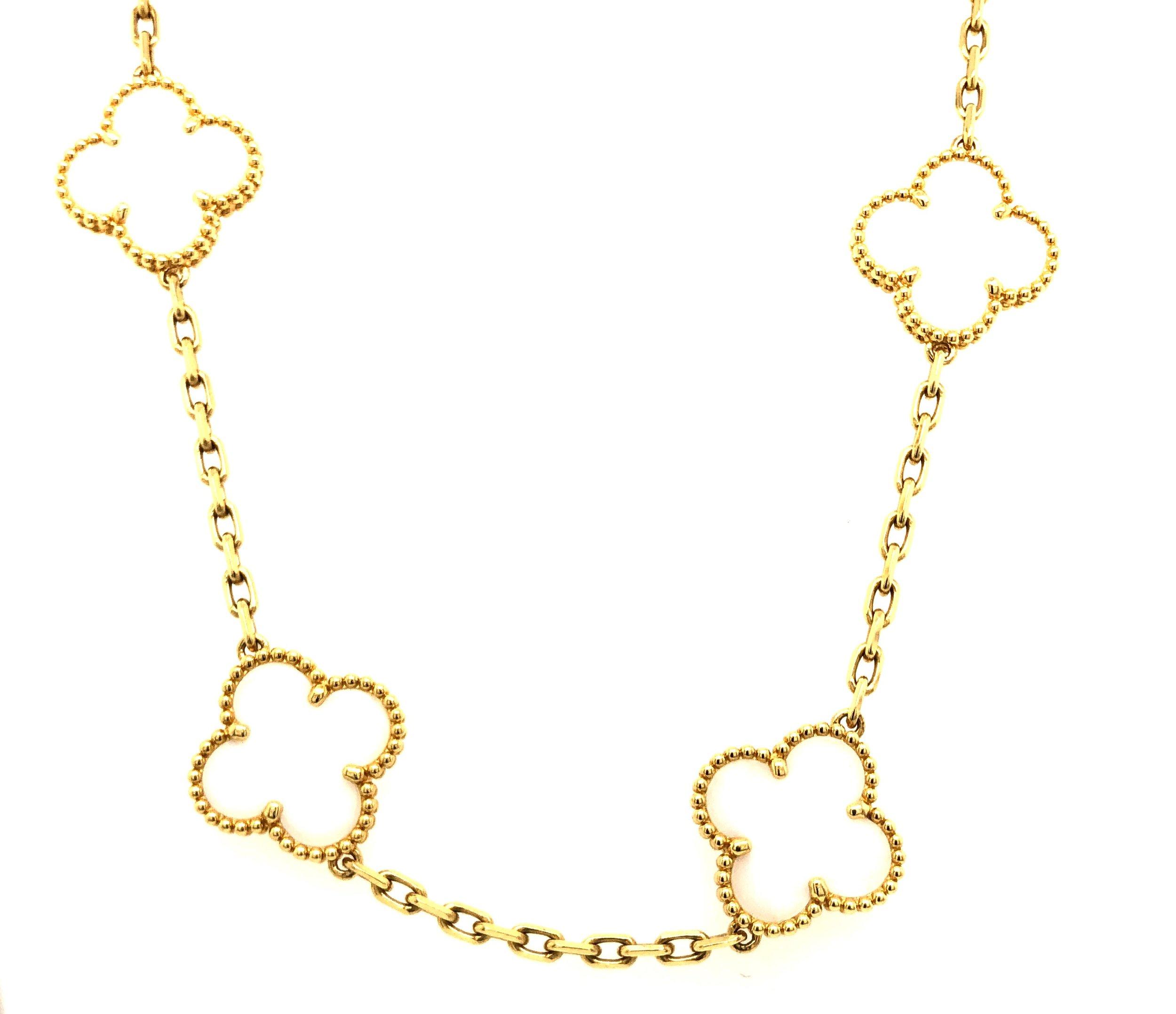 Alahambra 20 Motif White Coral Necklace, 18kt Yellow Gold,  Van Cleef & Arpels,  Circa 1970  Est. US$ 30,000-35,000