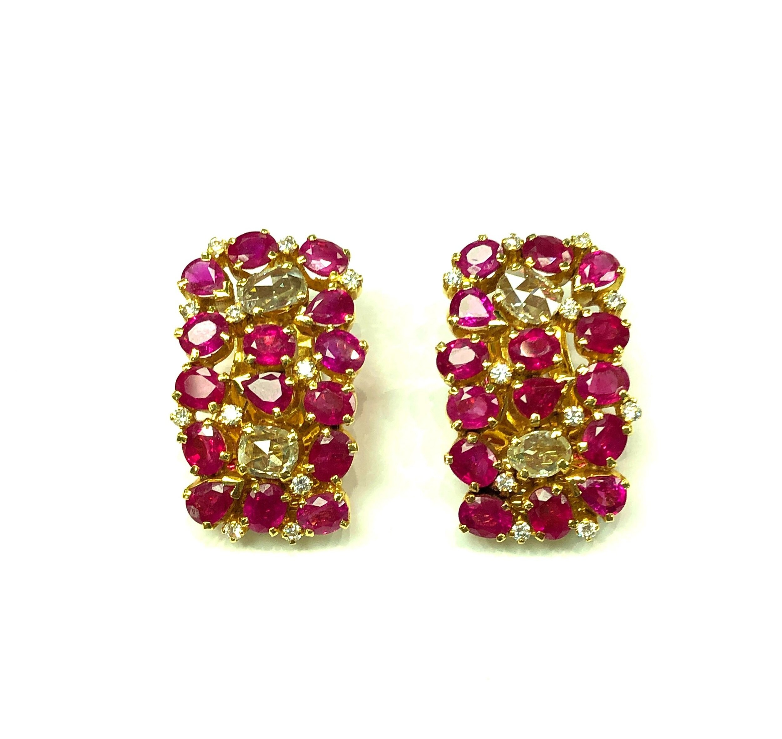 Important Burmese Ruby Earclips, 18kt Yellow Gold with Old Mine Cut Diamonds  Est. US$ 22,000-28,000  including matching necklace