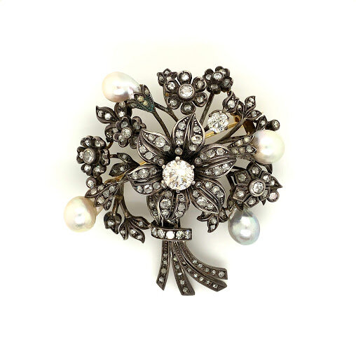 Victorian Pearl Flower Bouquet Brooch with Old Mine Diamond Center  Est. US$ 7,000-9,000