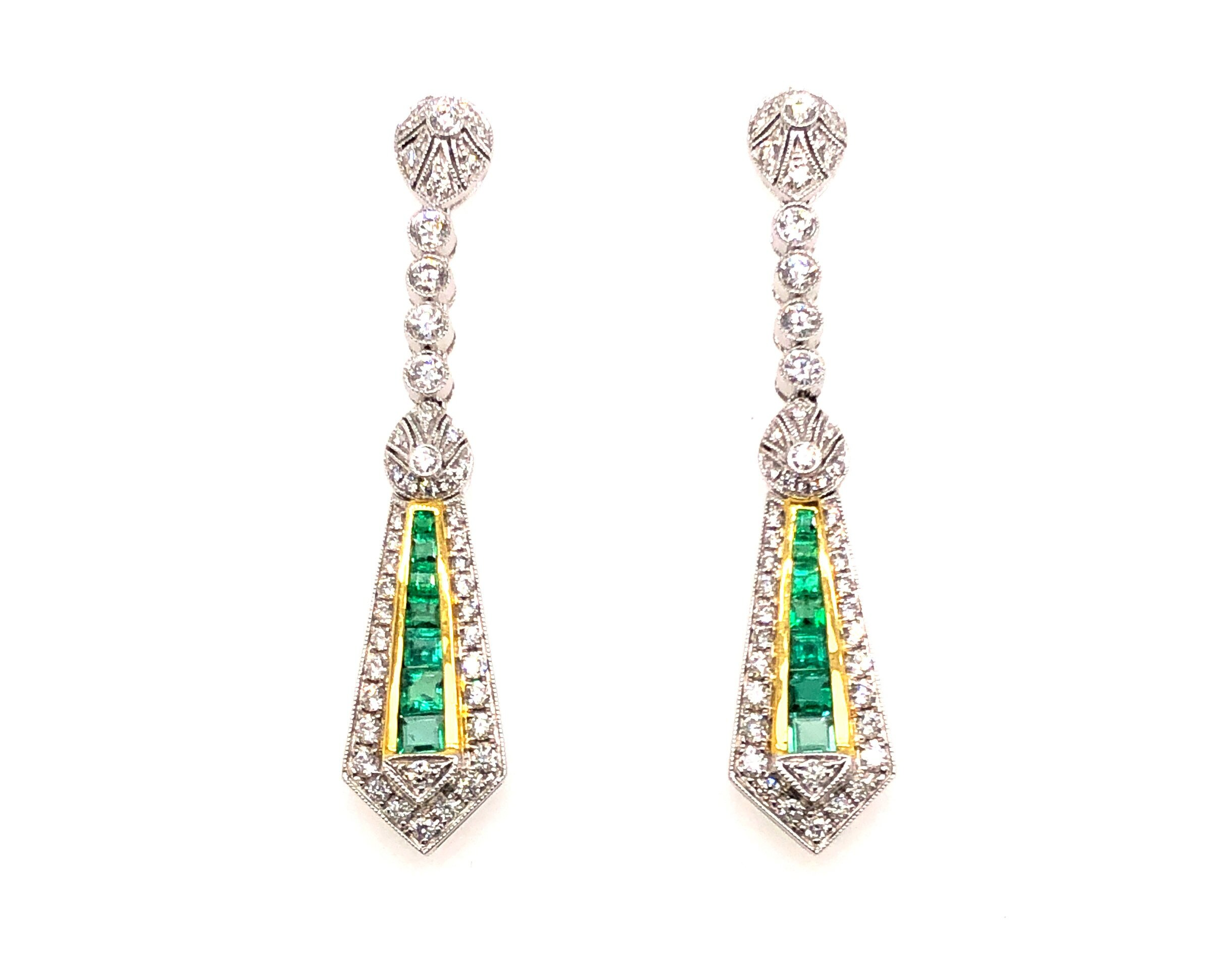 Diamond Earrings with Emeralds set, 18kt White Gold, 18kt Yellow Gold  Est. US$ 2,500-3,500