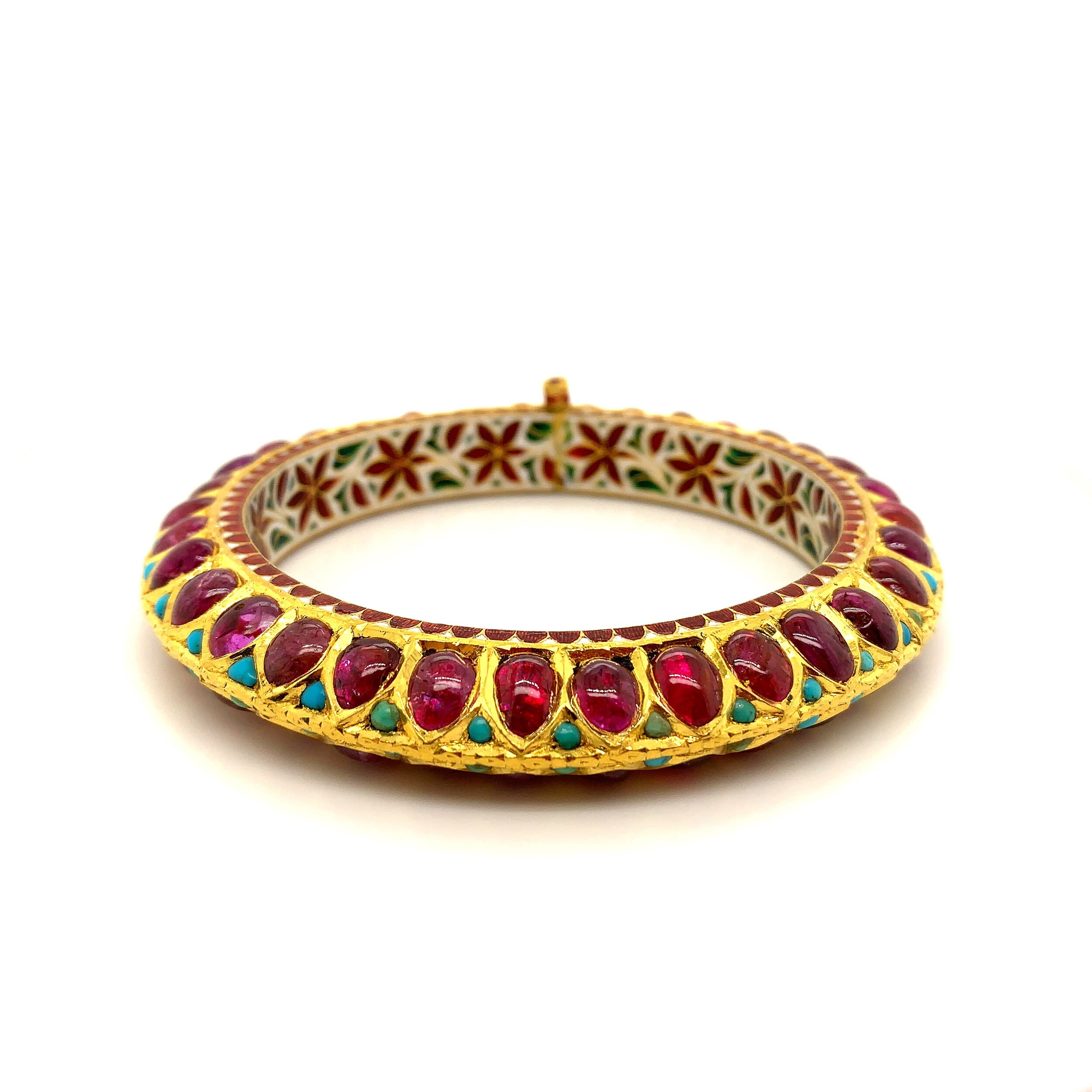 26ct Ruby Traditional Indian Bangle with enamel in 22 Karat Gold  Est. US$ 2,800-3,500