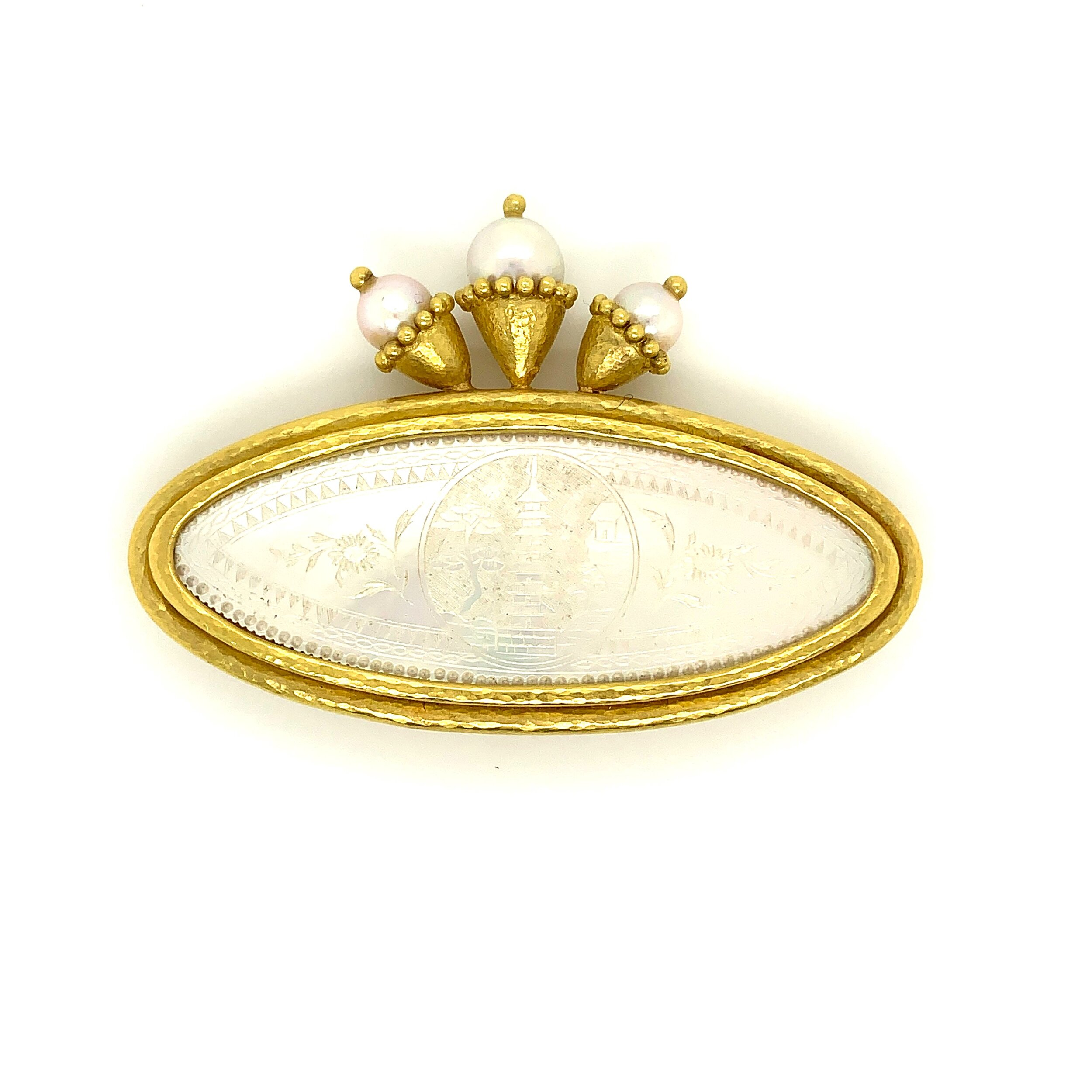 Etched Mother-of-Pearl Chinese Gambling Brooch with Akoya Pearl Top in 18 Karat Gold, Elizabeth Locke
