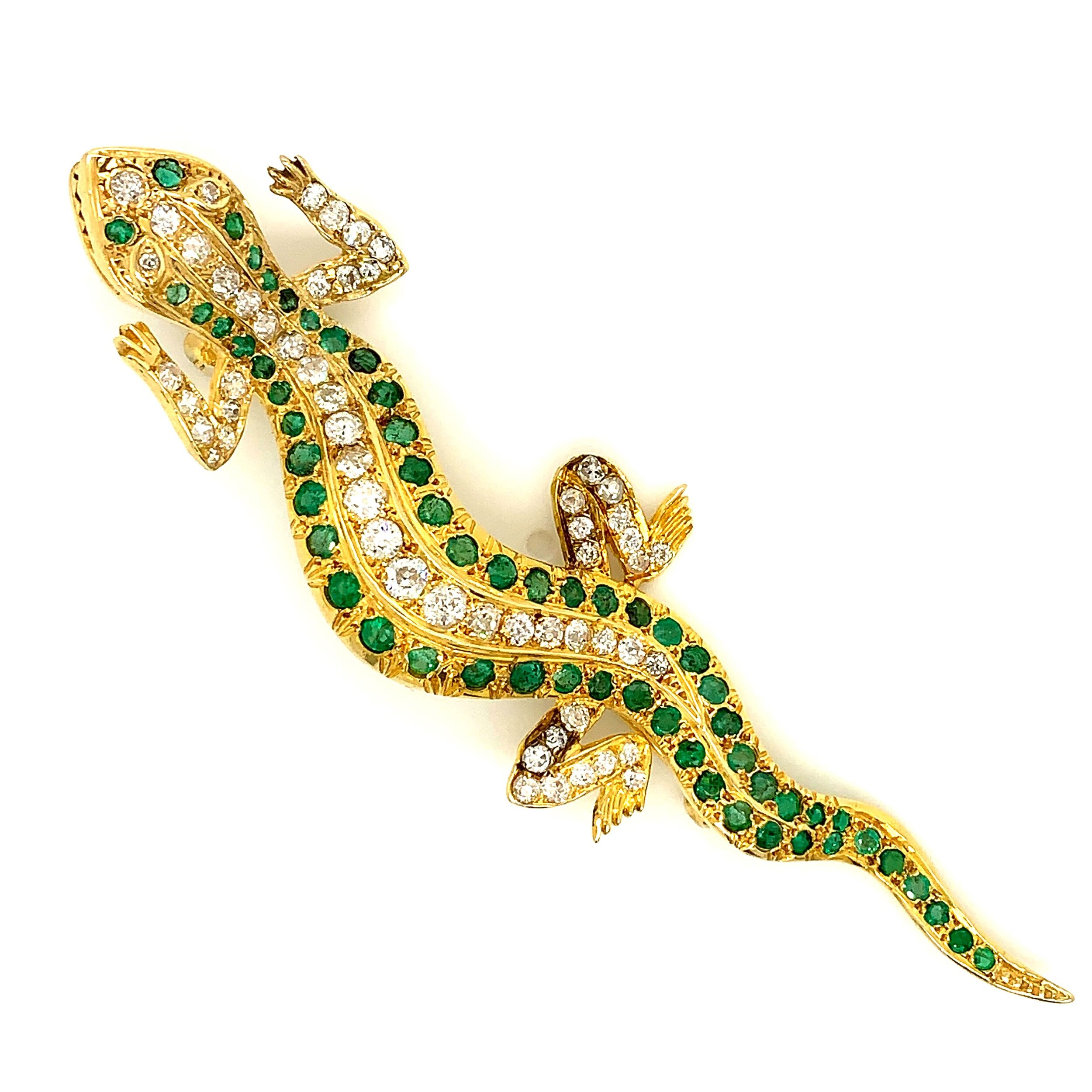 Victorian Salamander Brooch Adorned with Tsavorite and Diamonds in 18 Karat Gold.  Est. US$ 3,000-5,000
