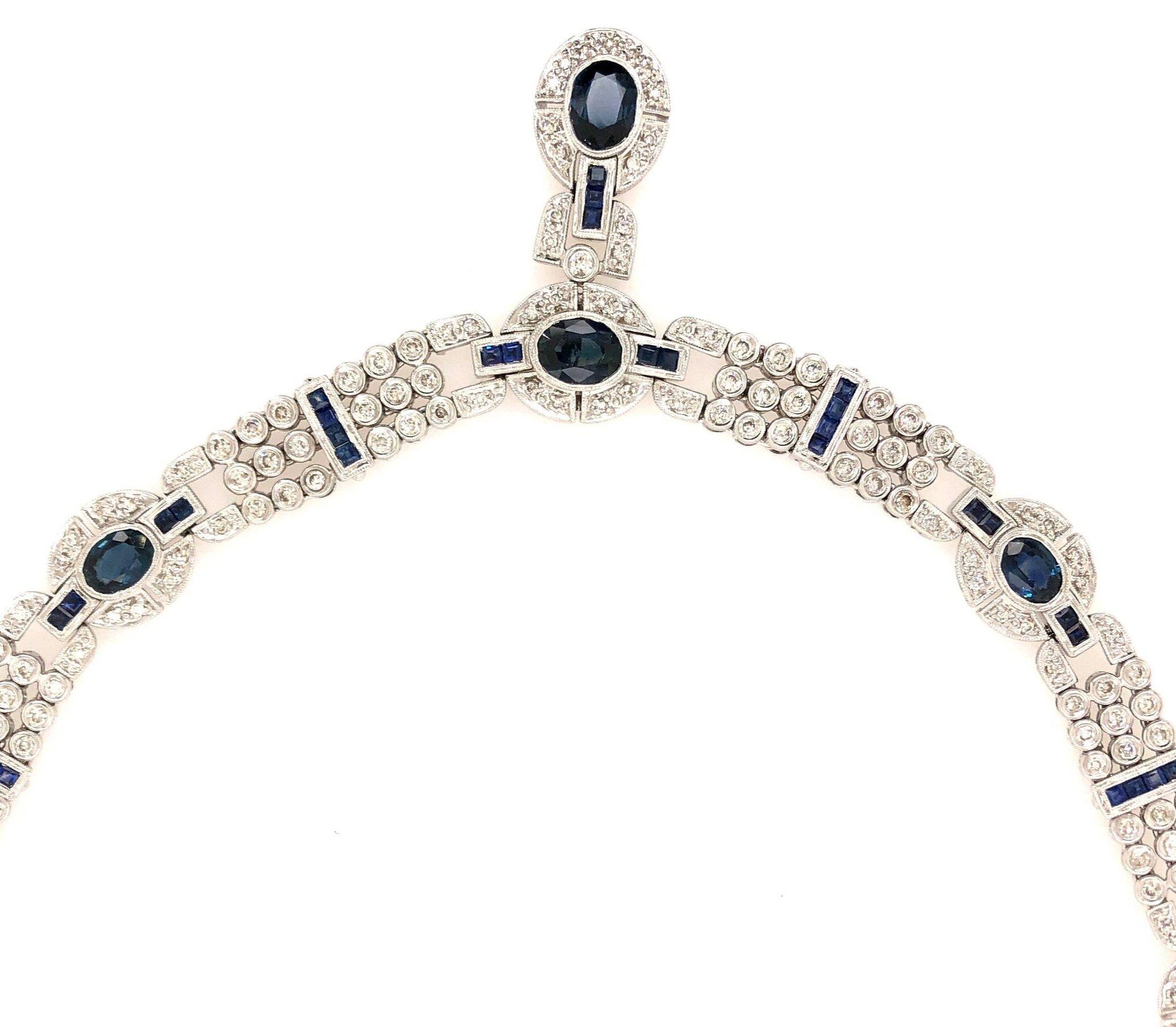 Art Deco Style Sapphire & Diamond Necklace & Earring Set, 18 karat Gold   Est. US$ 5,000-7,000 with Earrings