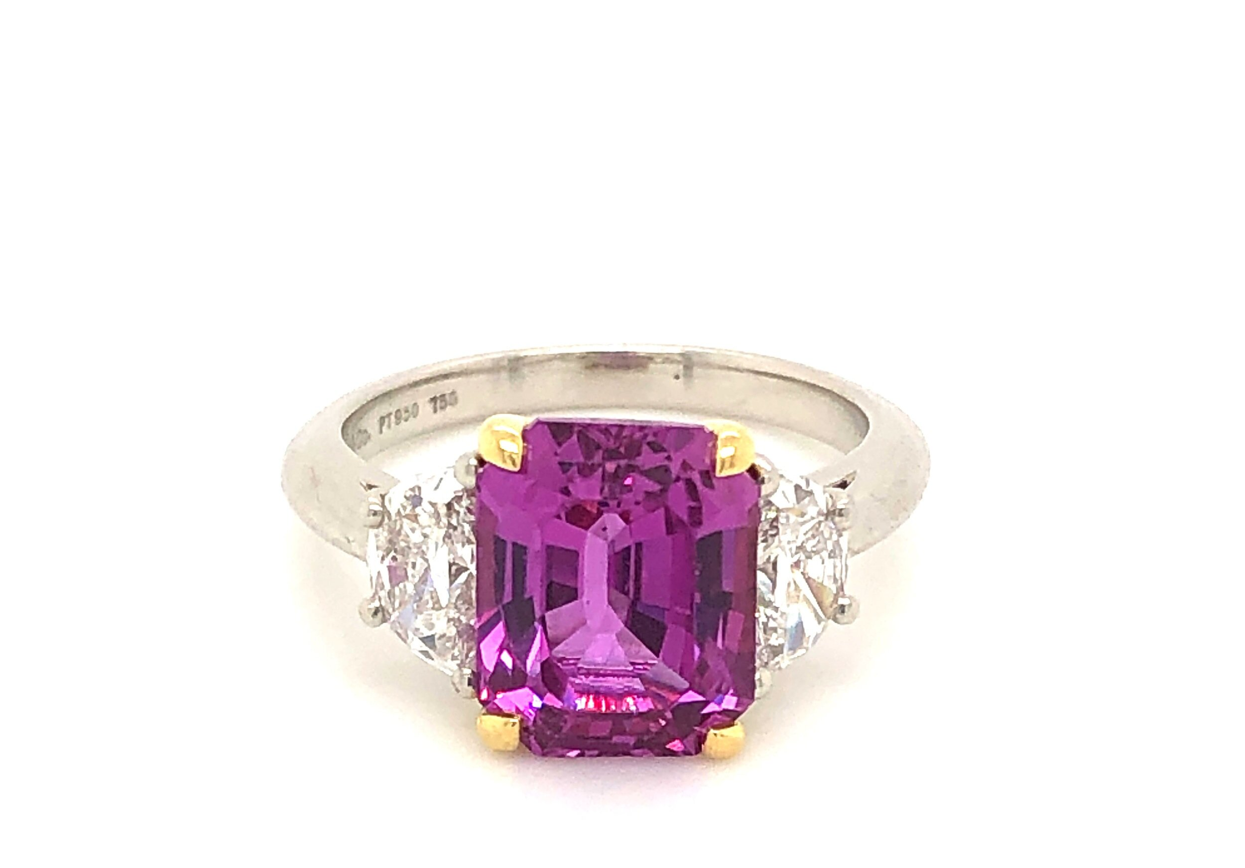 3 Stone Ring, Platinum with Pink Sapphire Center & Trapezoid Diamond Side Stones,  Tiffany & Co.   Est. US$ 15,000-18,000