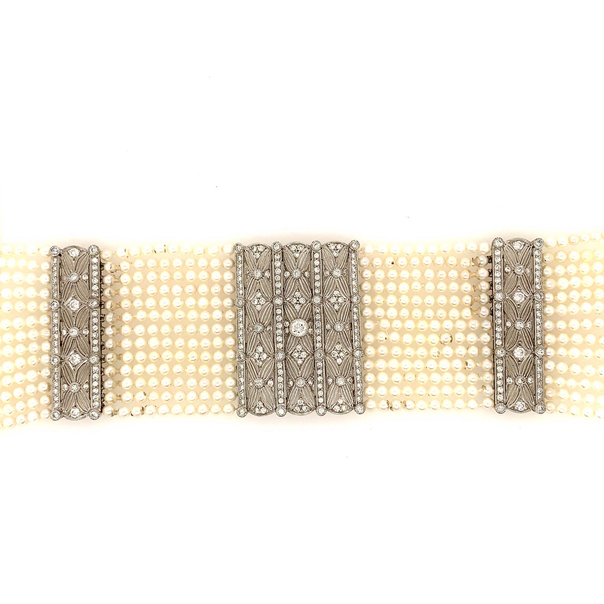 Vintage Multi-Strand Cultured Pearl Choker with Diamonds   Est. US$ 5,000-7,000
