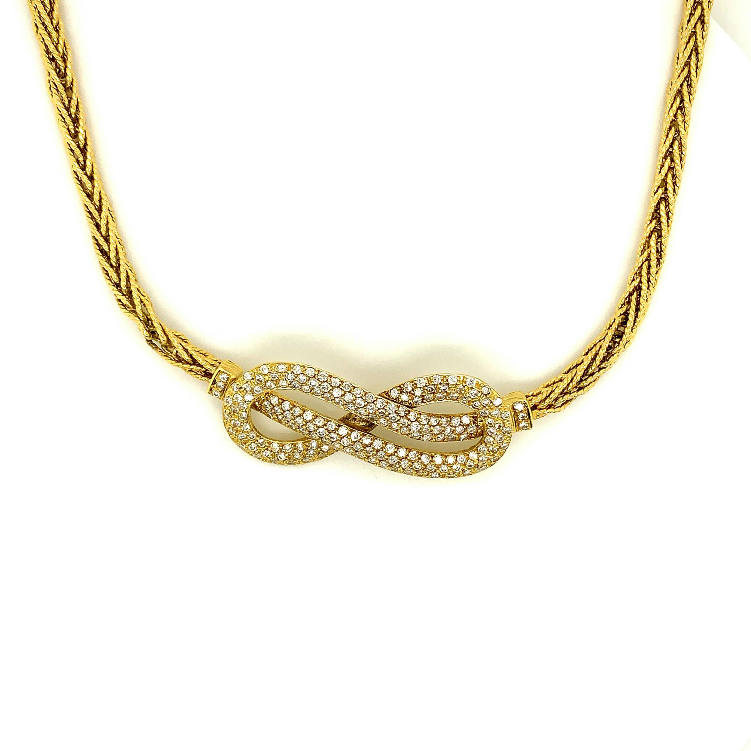 Gold Rope Necklace with 2.0ct Knot Center in 18 Karat Gold, Asprey   Est. US$ 3,500-5,000