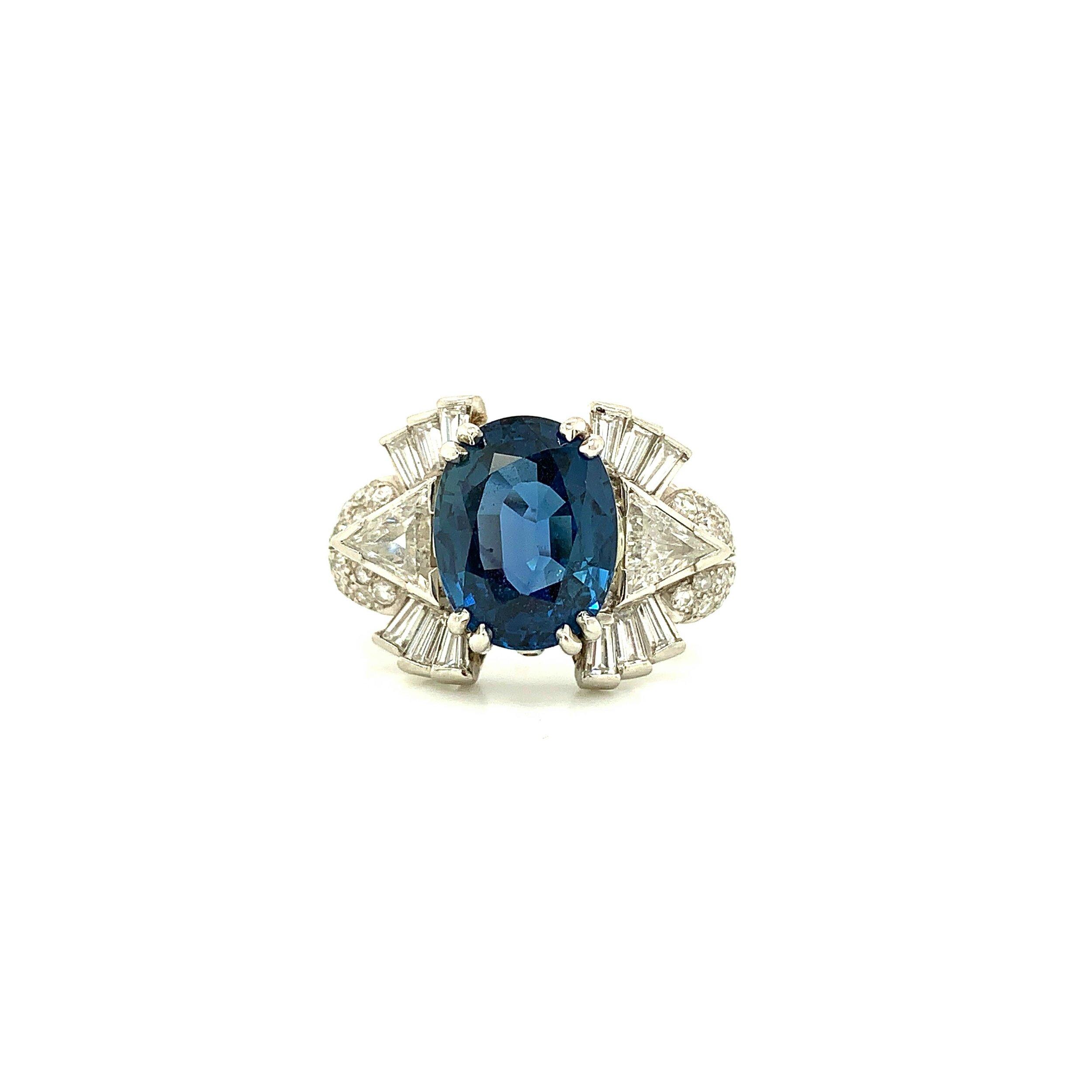 6.21ct Certified Sapphire Starburst Ring with 2.20ct Diamonds set in Platinum   Est. US$ 5,000-6,500