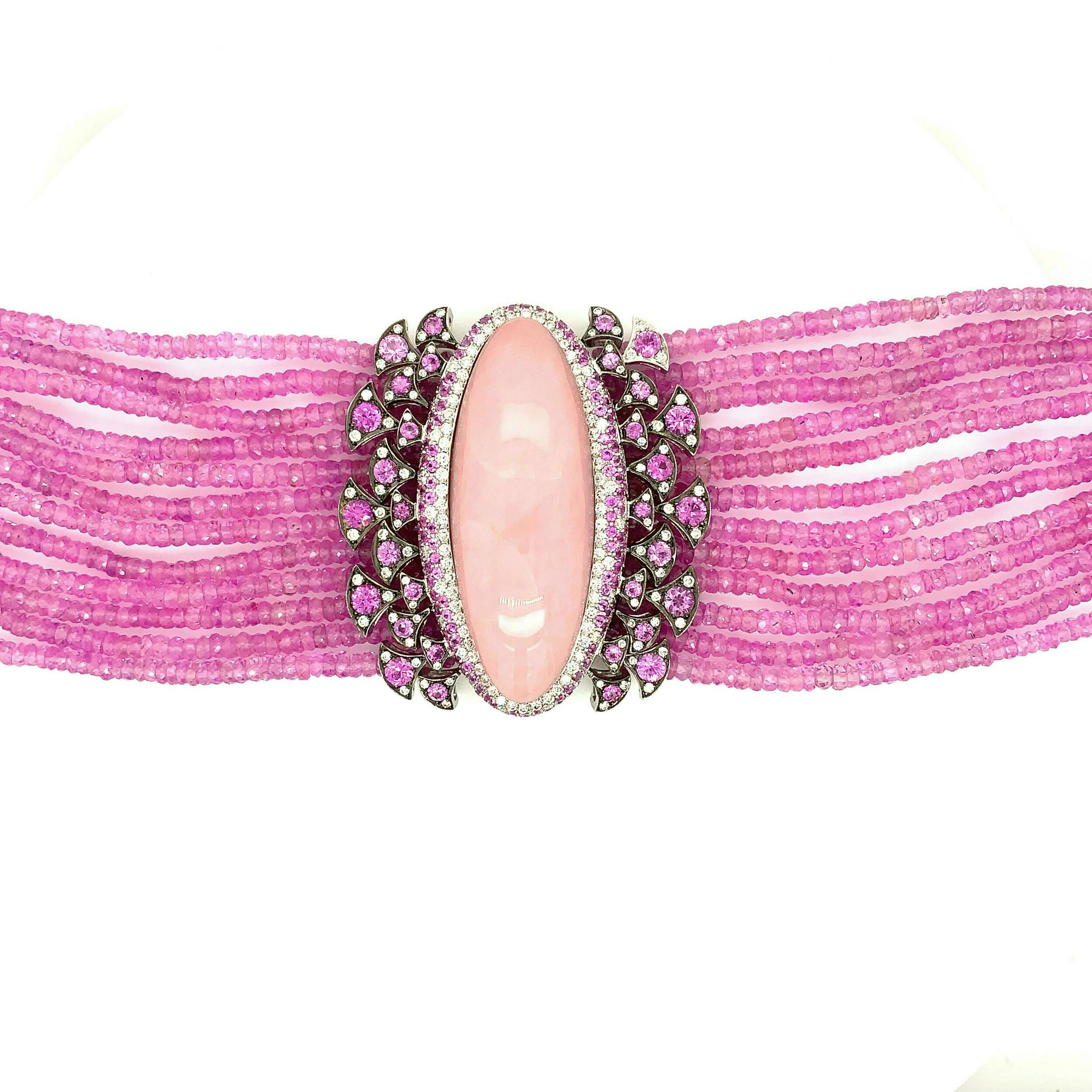 188.2cts Faceted Pink Sapphire Bead Bracelet with 36.07 Pink Opal & Diamond Center   Est. US$ 4,000-6,000