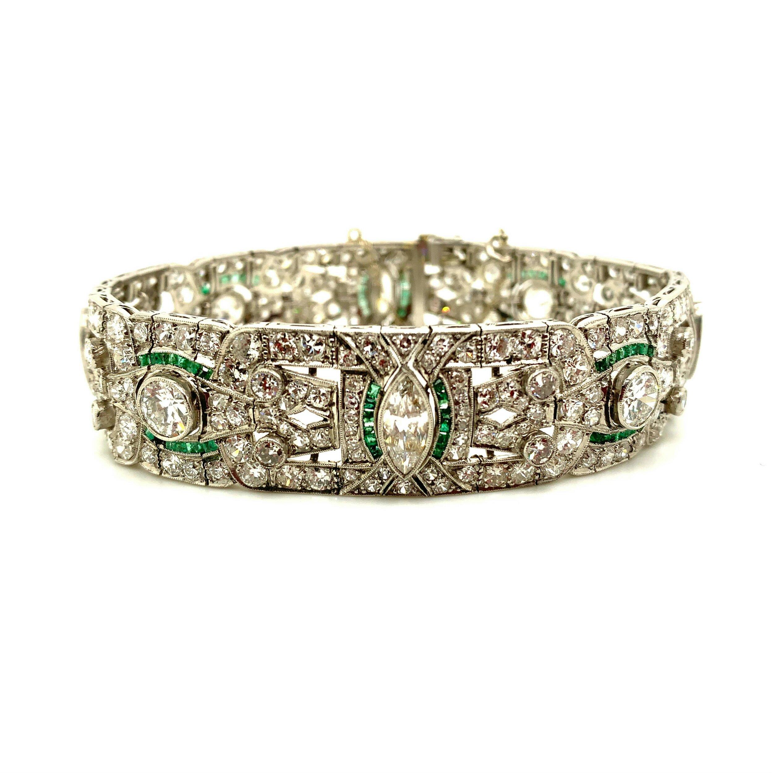 Diamond & Emerald Platinum Bracelet  Est. US$ 18,000-21,000