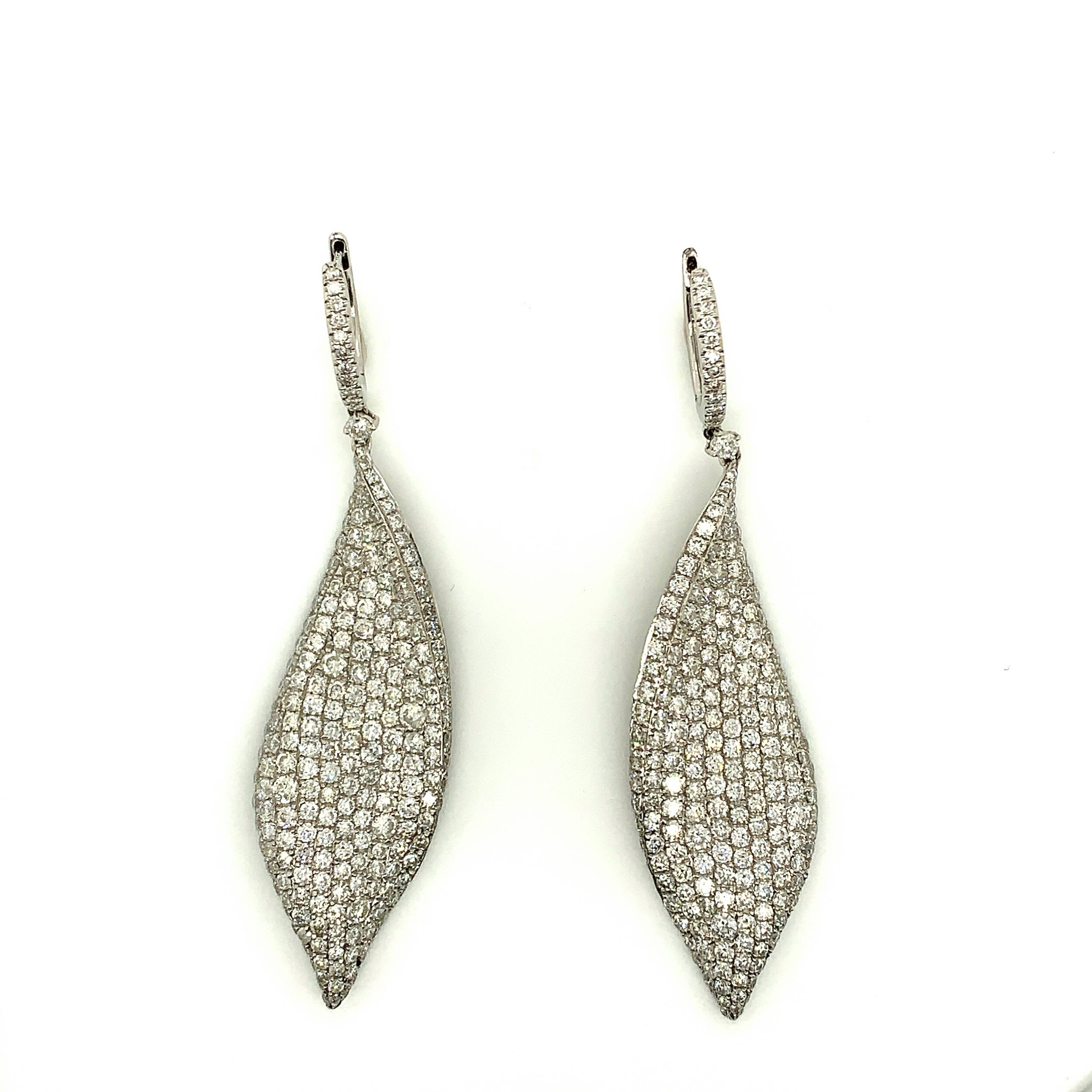 8.0ct Pave Diamond Drop Leaf Earrings Set in 18kt White Gold   Est. US$ 5,000-6,500