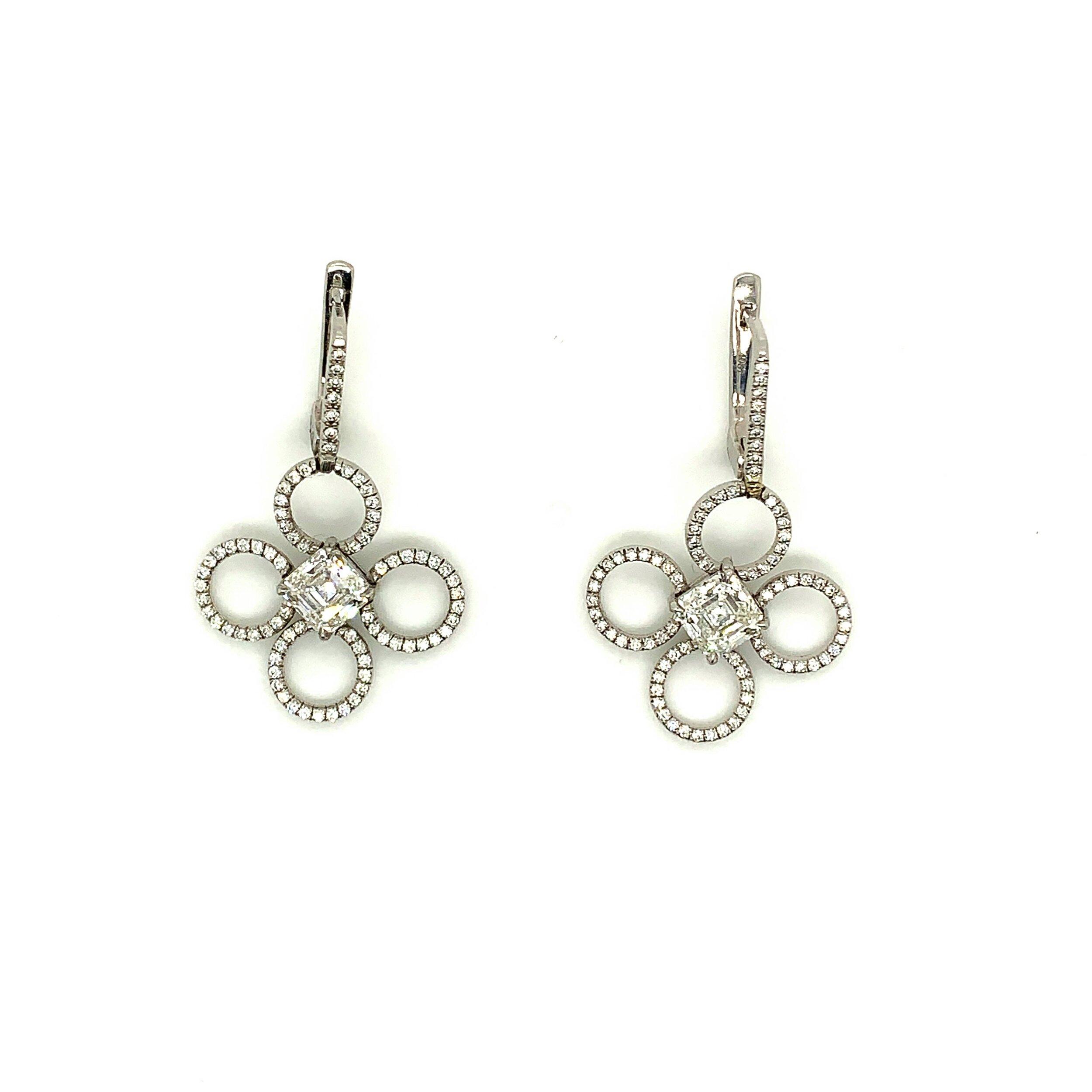 Diamond & Platinum Earrings   Est. US$ 5,000-6,500