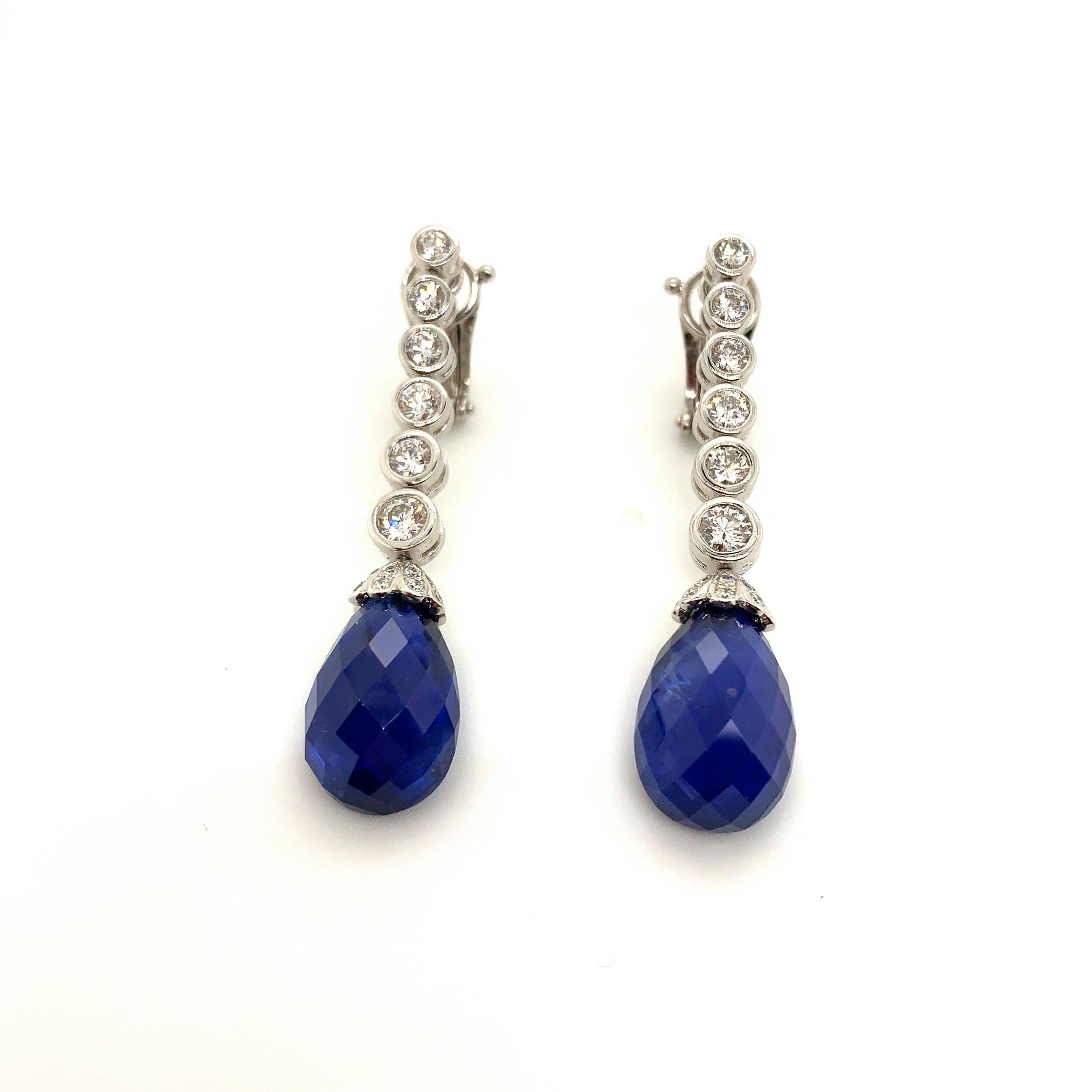 2-2.5ct Sapphire Briollette Drop Earrings with Diamonds, Van Cleef & Arpels   Est. US$ 35,000-45,000