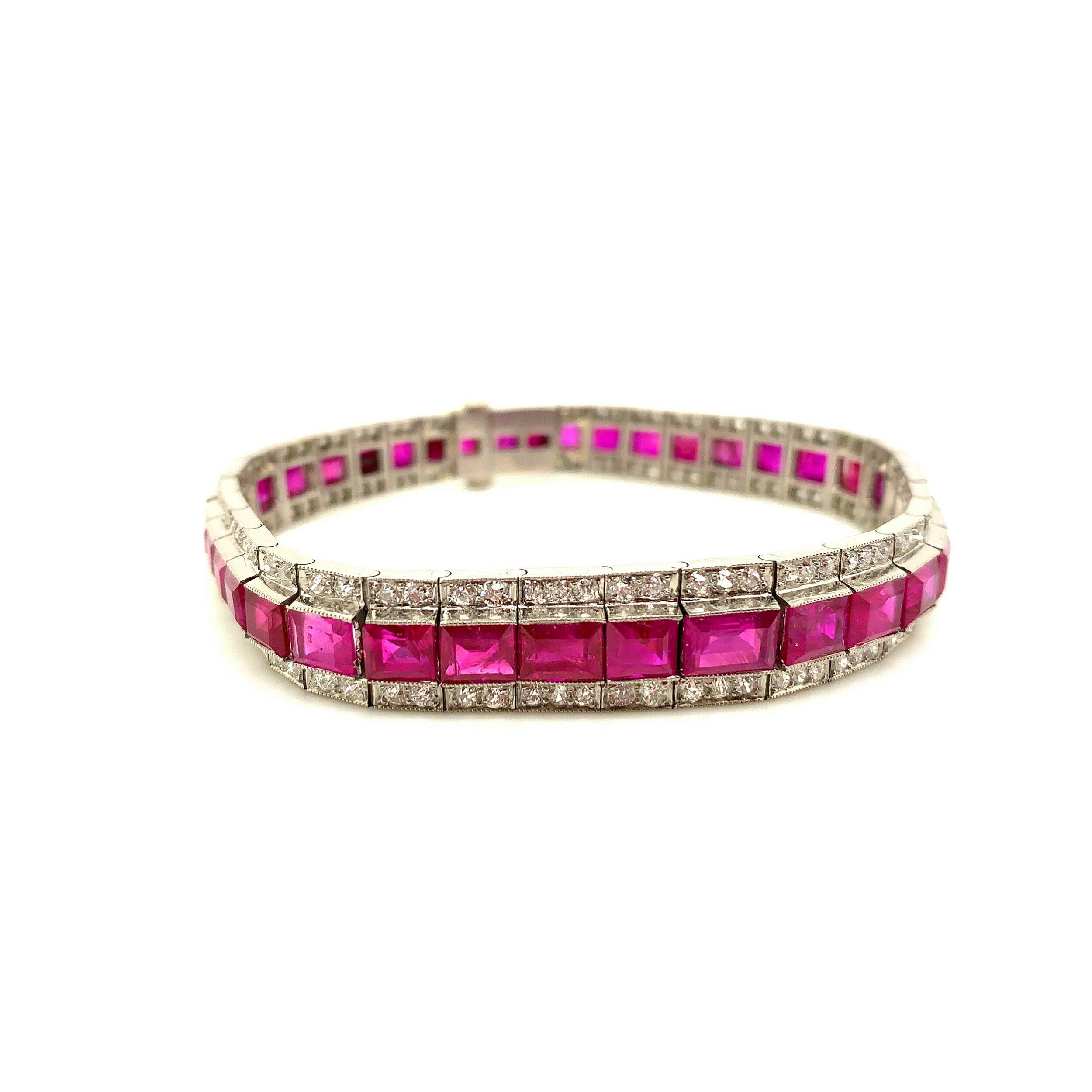 Ruby Straight Line Bracelet with Diamonds   Est. US$ 15,000-20,000