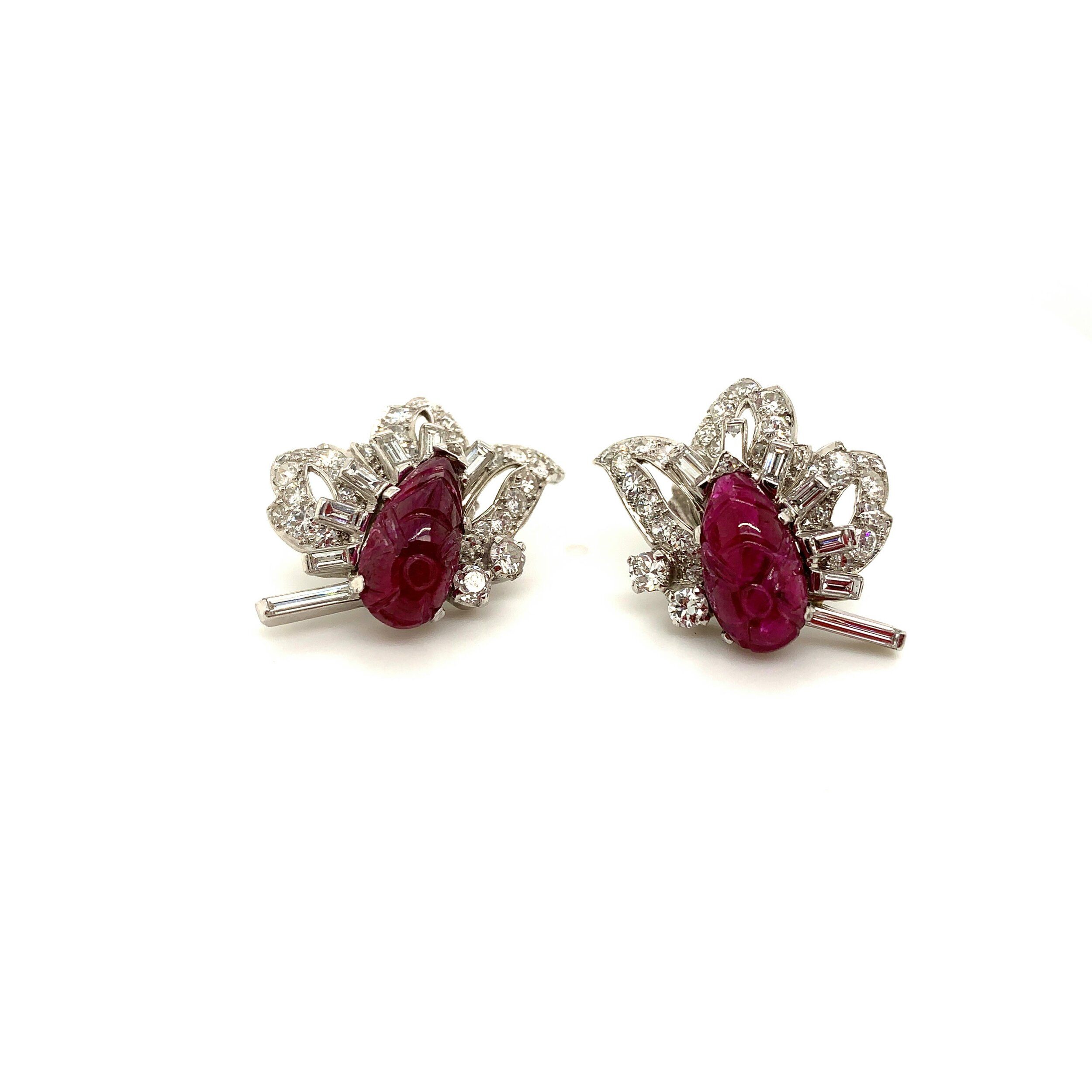 Carved Ruby and Diamond Earrings in Platinum   Est. US$ 4,000-5,500