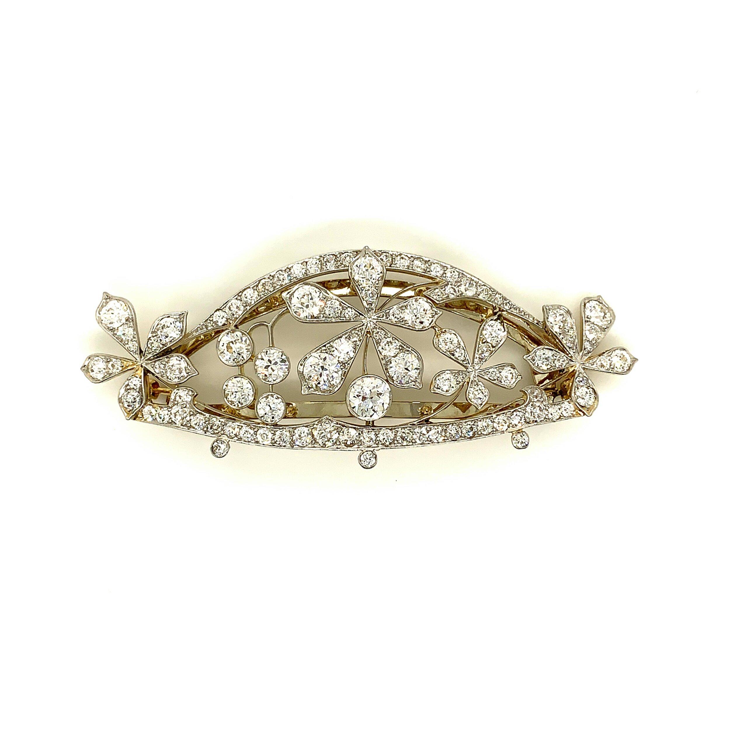 Signed Kirkpatrick c. 1895 Platinum Topped Gold Diamond Hair Barrette  Est. US$ 5,000-6,500