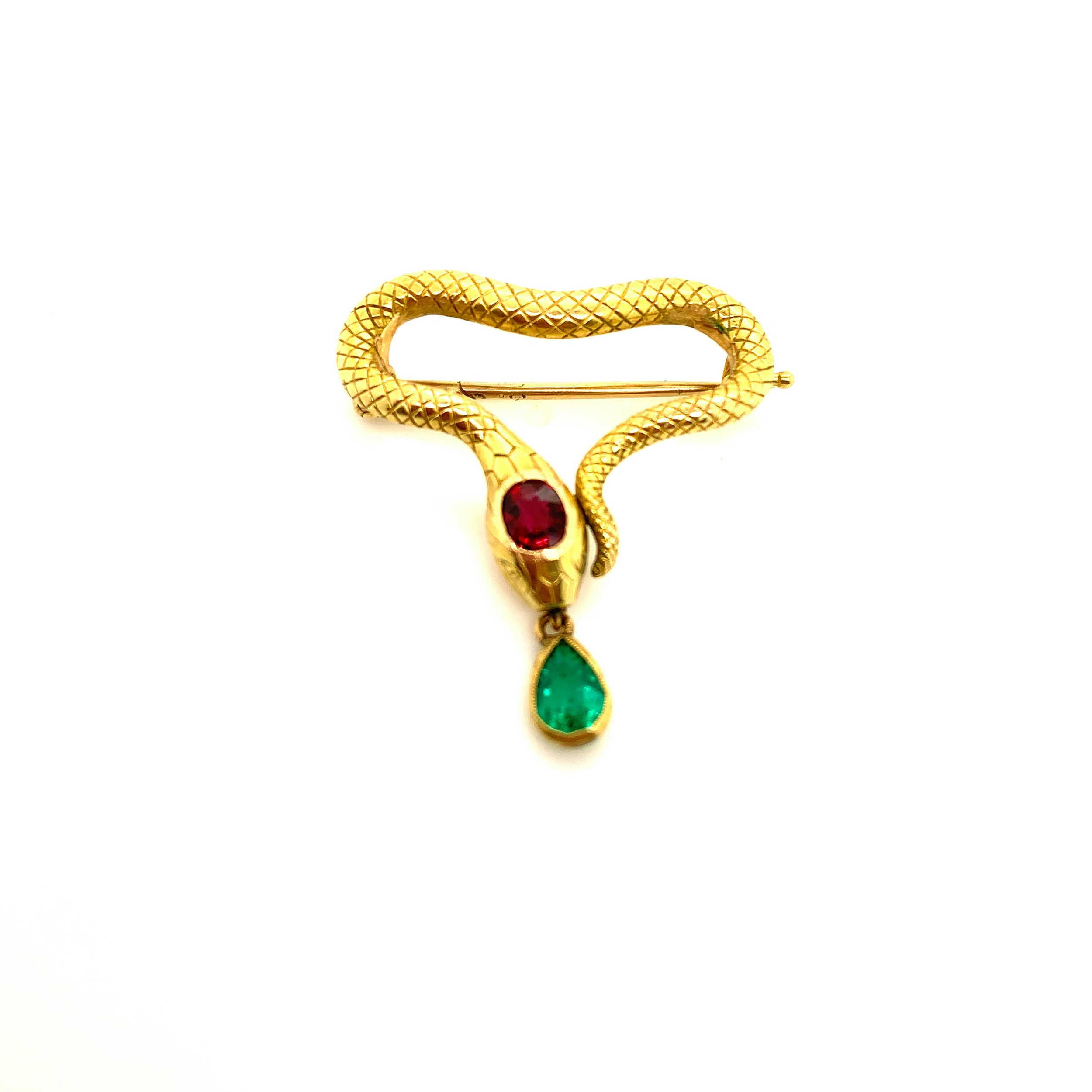 Ruby and Emerald Serpent Brooch   Est. US$ 3,500-4,500