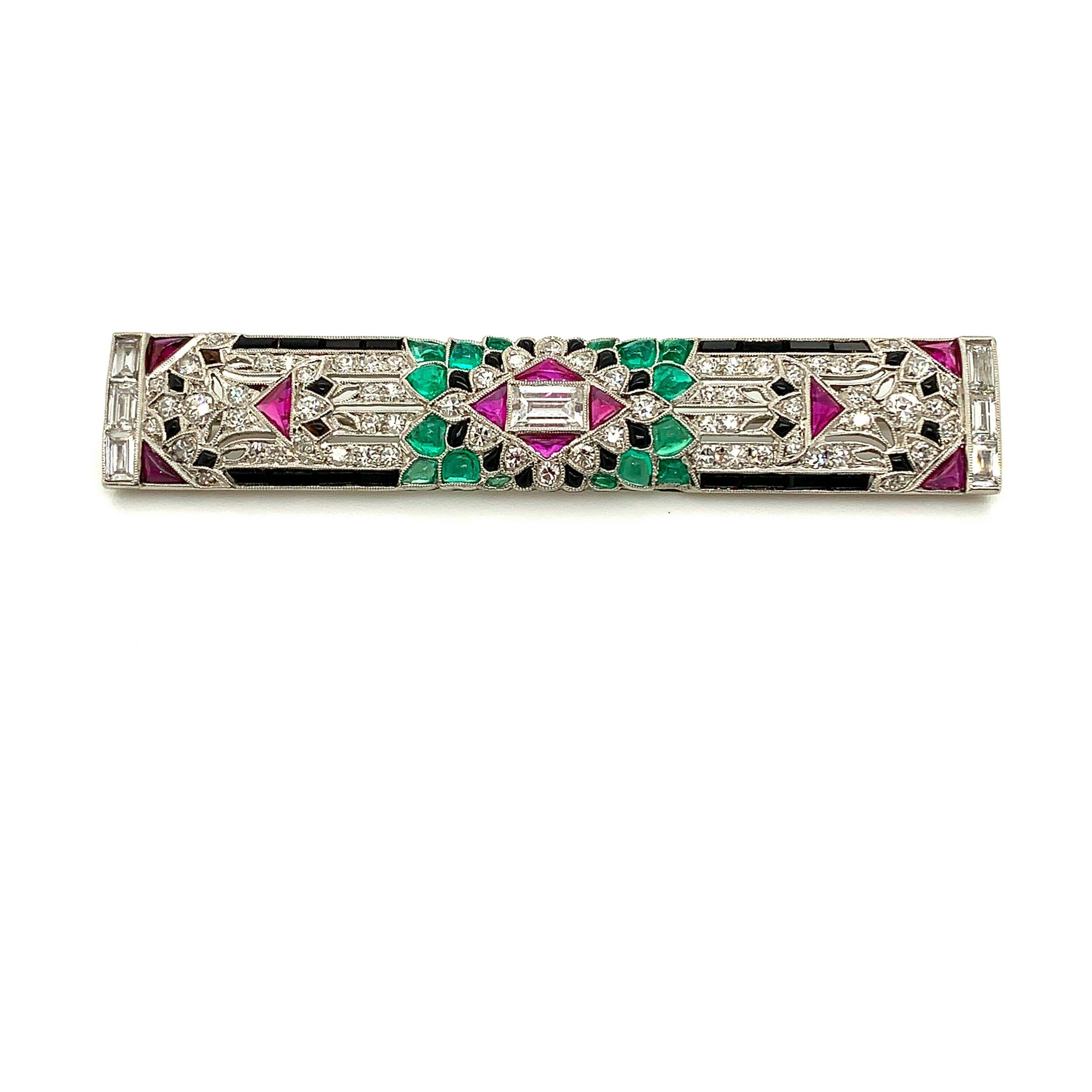 Art Deco Platinum 4-Color Bar Brooch   Est. US$ 7,000-8,000