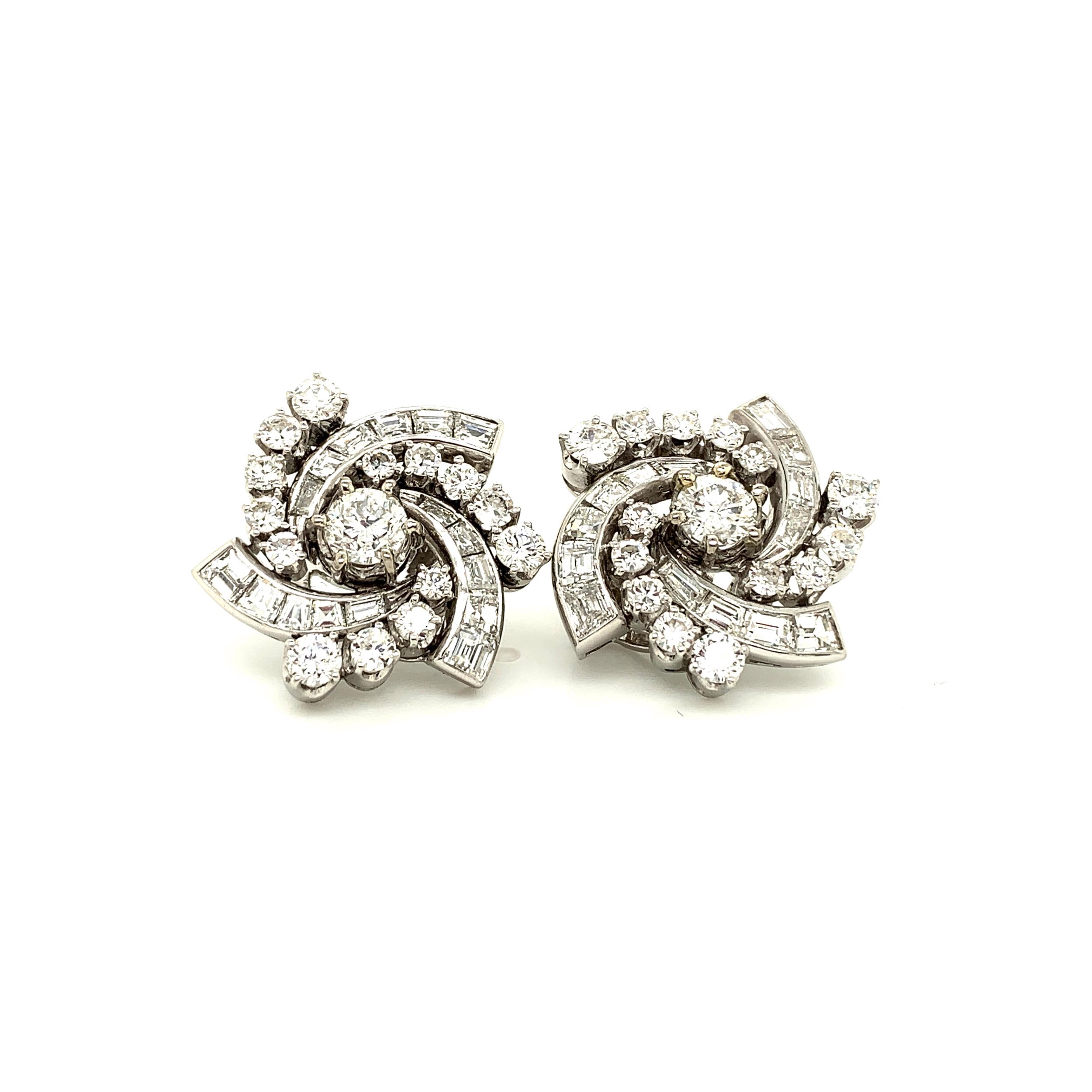 """1.03ct Old Mine Cut Diamond """"Pinwheel"""" Earrings with Baguette and Round Brilliant Diamonds, TCW 4.5cts   Est. US$ 5,500-7,000"""