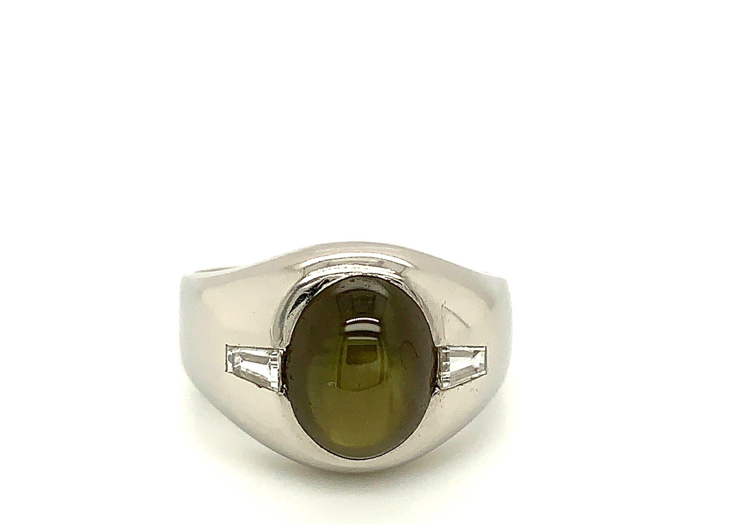 Rare Cat's Eye Chrysoberyl Ring Set in Platinum  Est. US$ 5,000-7,000