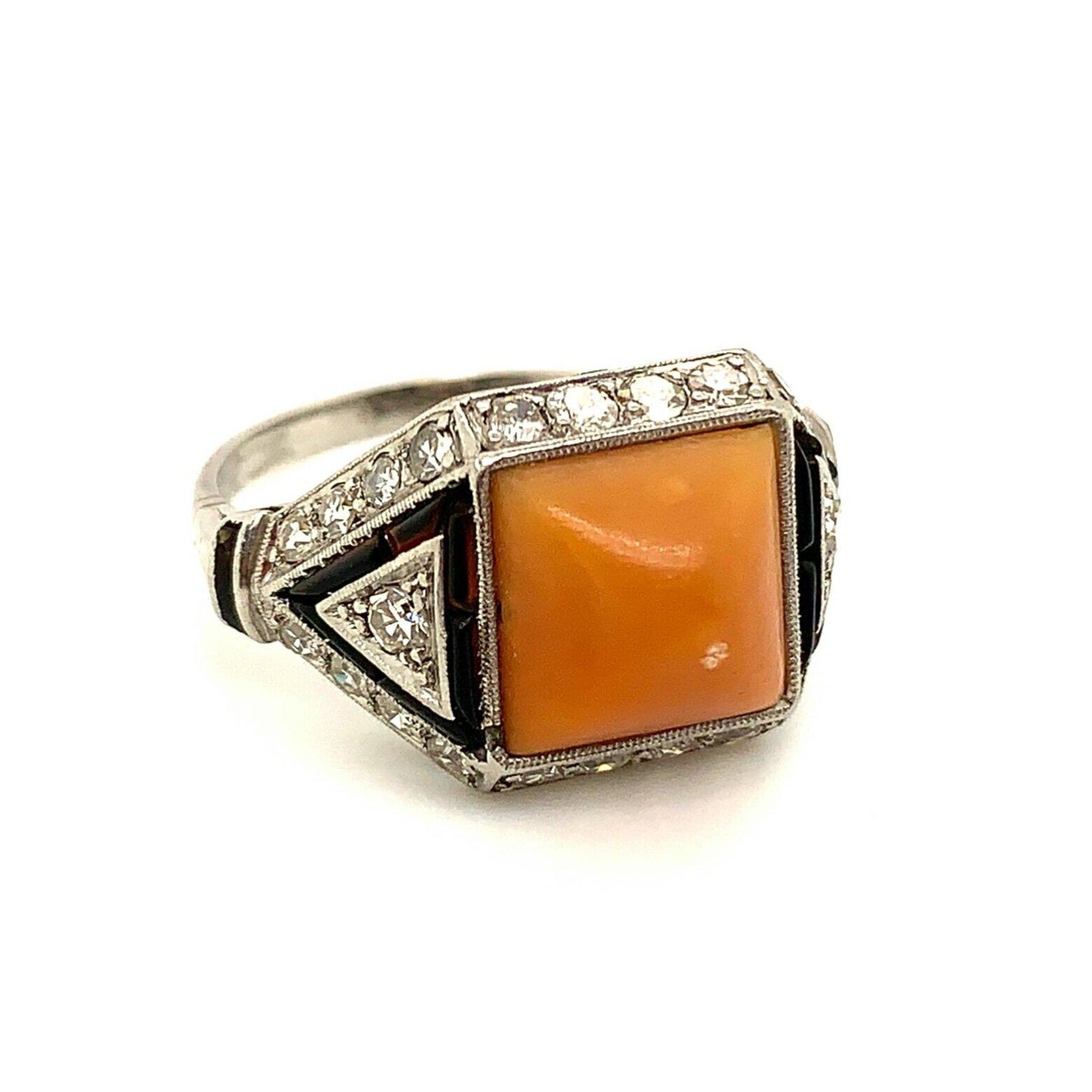 Coral Onyx, Deco Diamond Ring   Est. US$ 4,500-5,500