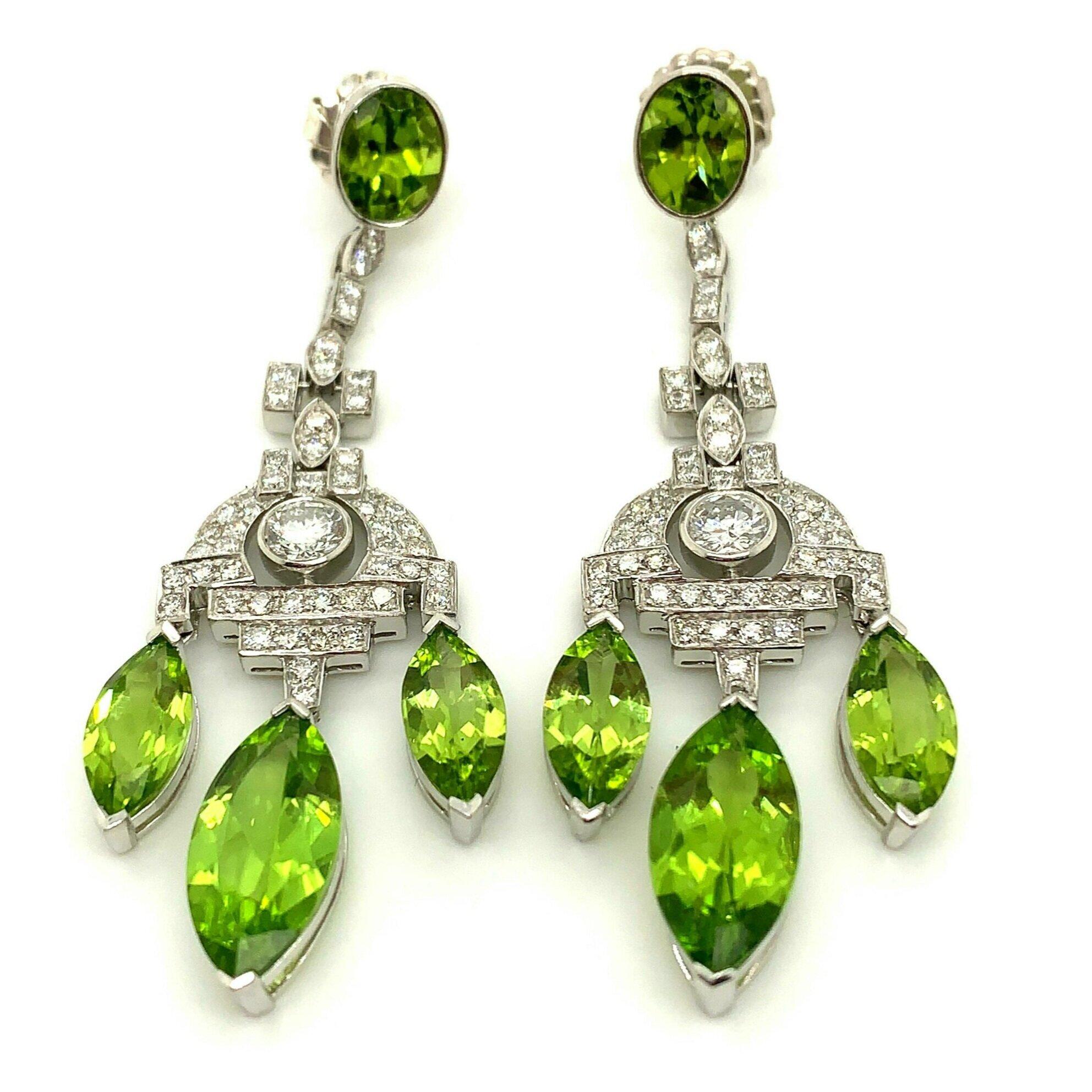 Peridot and Diamond Earrings   Est. US$ 2,500-3,500