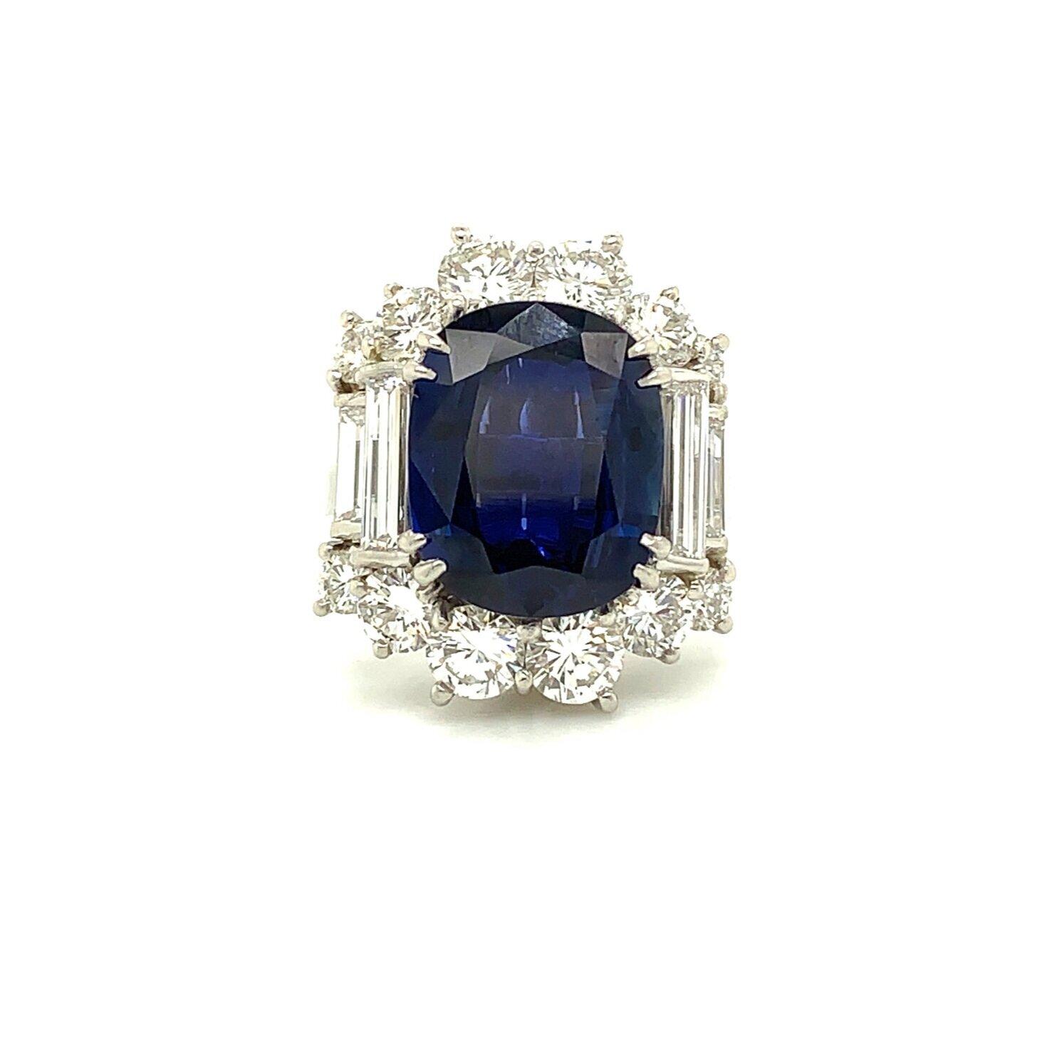 Platinum Fancy Mounting Sapphire 4 Baguette Diamond Ring   Est. US$ 12,000-15,000