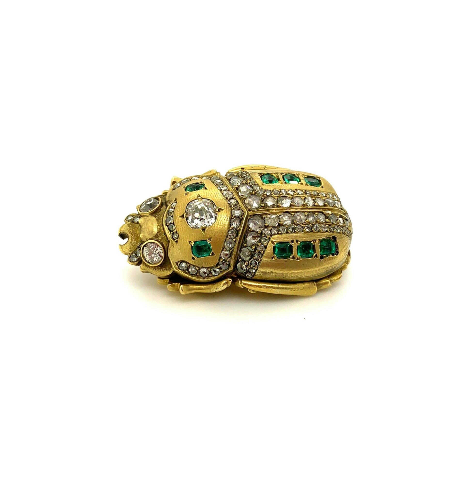 Emerald and Diamond Scarab Brooch   Est. US$ 3,500-4,500