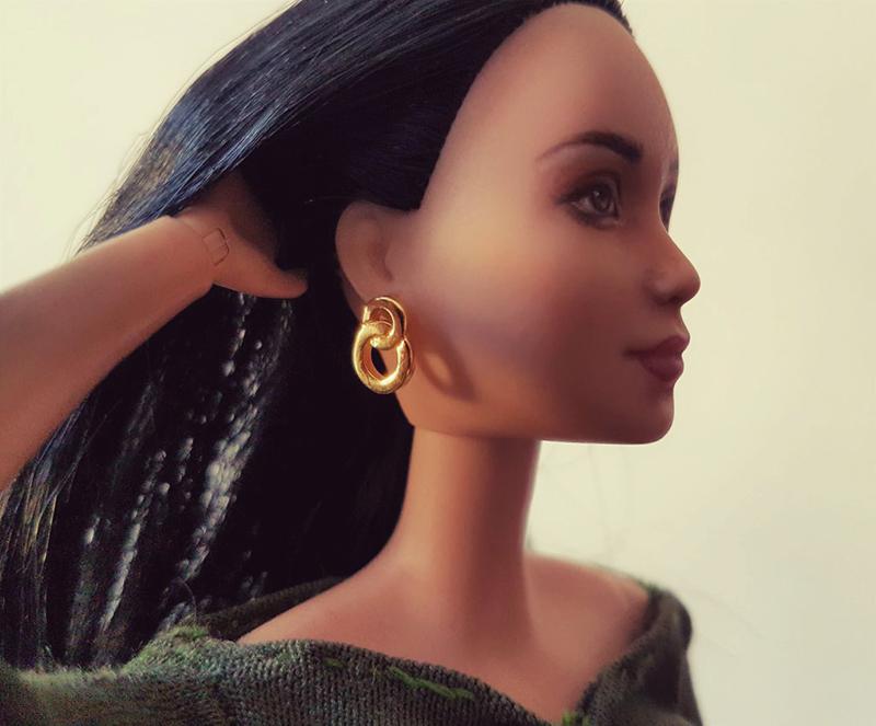 Barbie Earrings for OOAK Made to Move Black Hair Barbie, Eve, Plastically Perfect 01.jpg