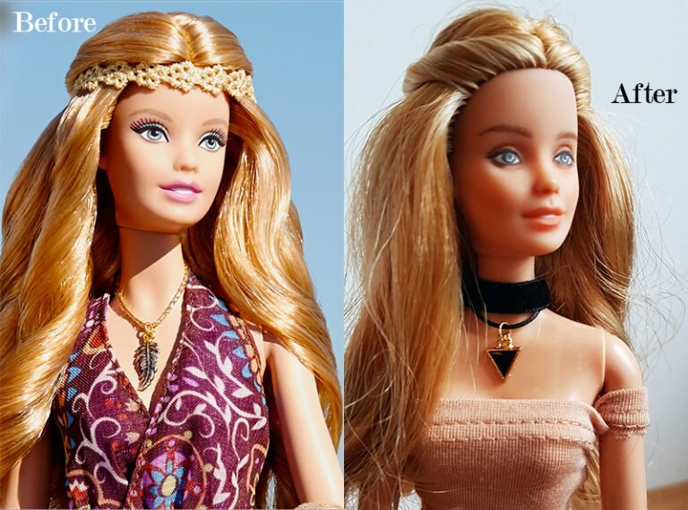OOAK Fashionista Festival Barbie - Willow - Plastically Perfect - Before After.jpg