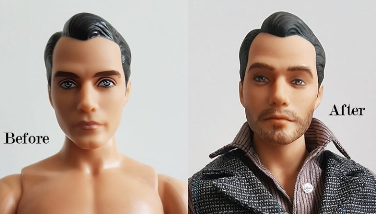 OOAK Superman 12IN Articulated Figure - Cole - Plastically Perfect - Before After.jpg