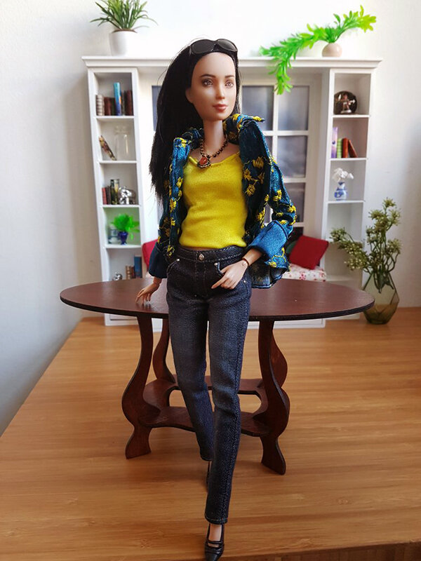 OOAK Made to Move Black Hair Barbie, Eve, Plastically Perfect - OOTD winter blues and summer yellow 01.jpg