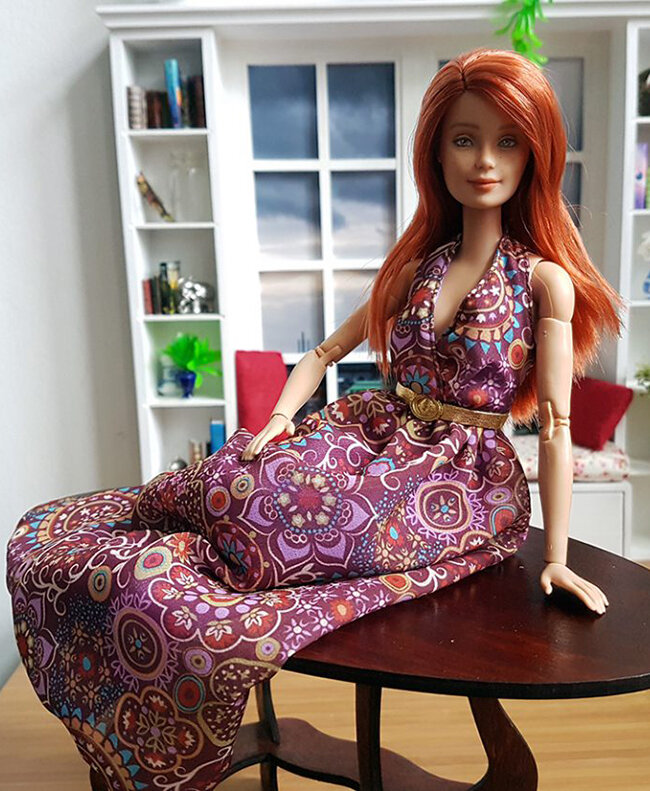 OOAK Made to Move Red Hair Barbie, Anne, Plastically Perfect - OOTD winterizing a summer dress 01.jpg