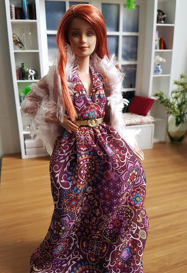 OOAK Made to Move Red Hair Barbie, Anne, Plastically Perfect - OOTD winterizing a summer dress 03.jpg
