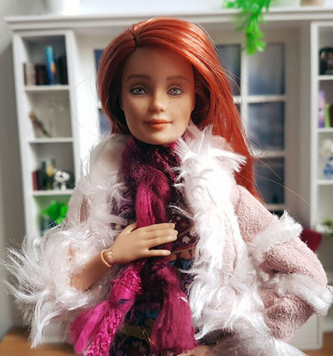 OOAK Made to Move Red Hair Barbie, Anne, Plastically Perfect - OOTD winterizing a summer dress 04.jpg