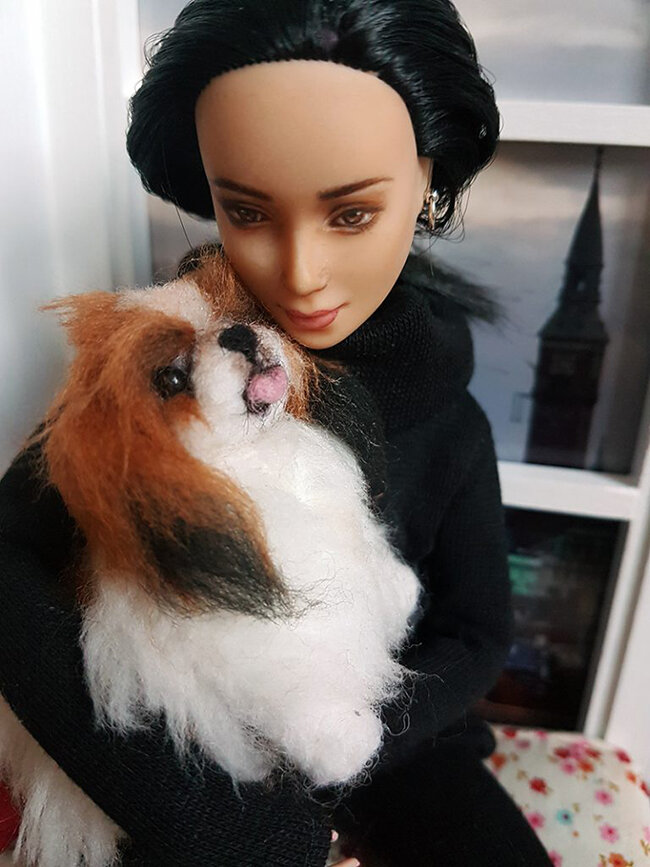 OOAK - Felt Playscale Pekingese - Barbie Pet Krull - Plastically Perfect 04.jpg
