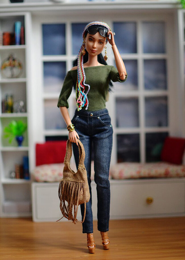 OOAK Made to Move Black Hair Barbie, Eve, Plastically Perfect - OOTD - Bohemian Spring 04.jpg