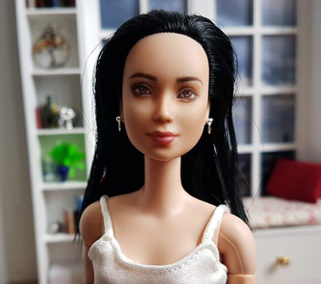 OOAK Made to Move Black Hair Barbie, Eve, Plastically Perfect - DIY nose rings become earrings 02.jpg